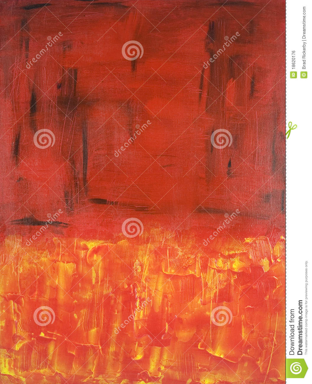 Abstract Expressionist painting in Red