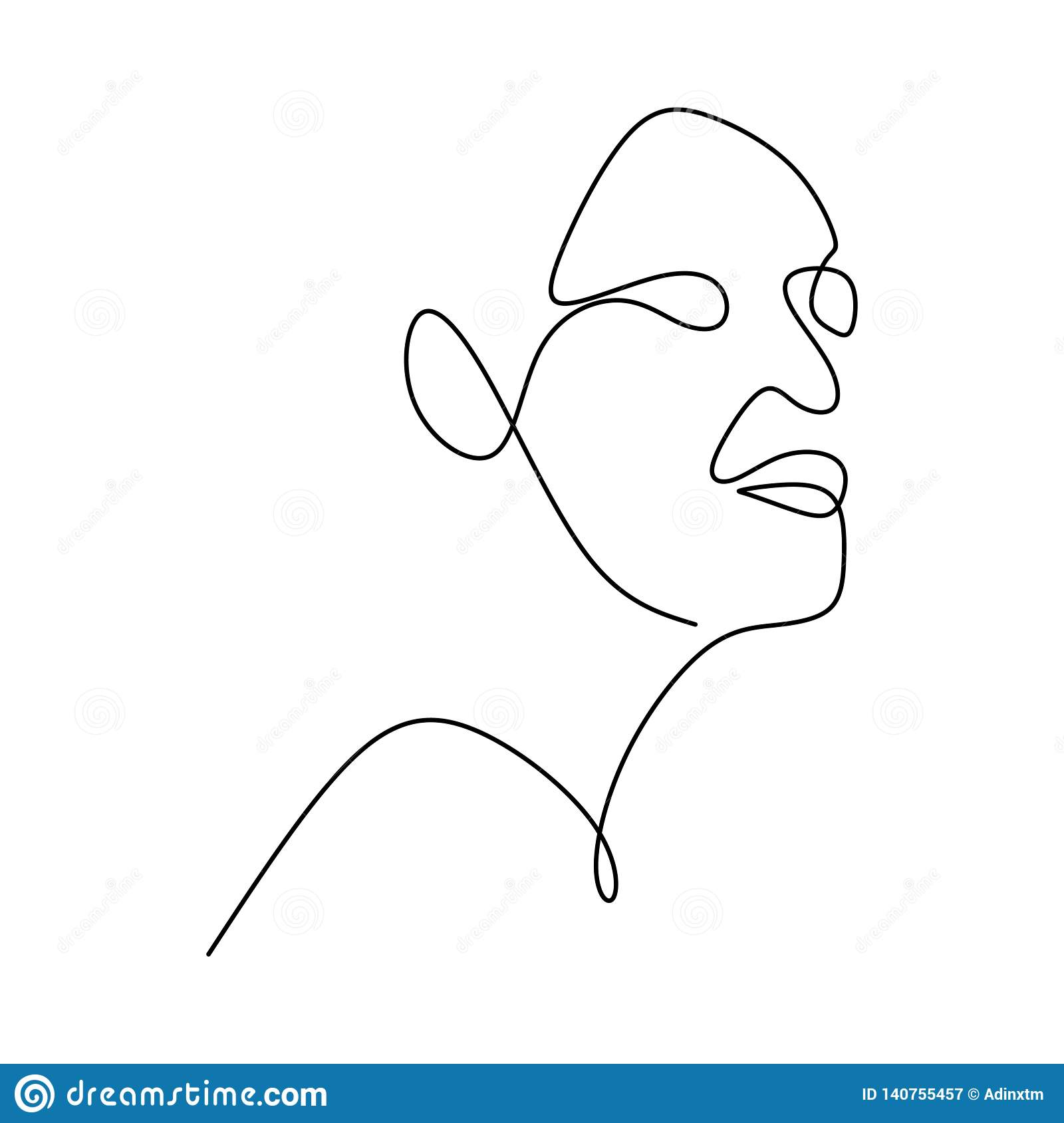 Abstract Face Continuous One Line Drawing Vector