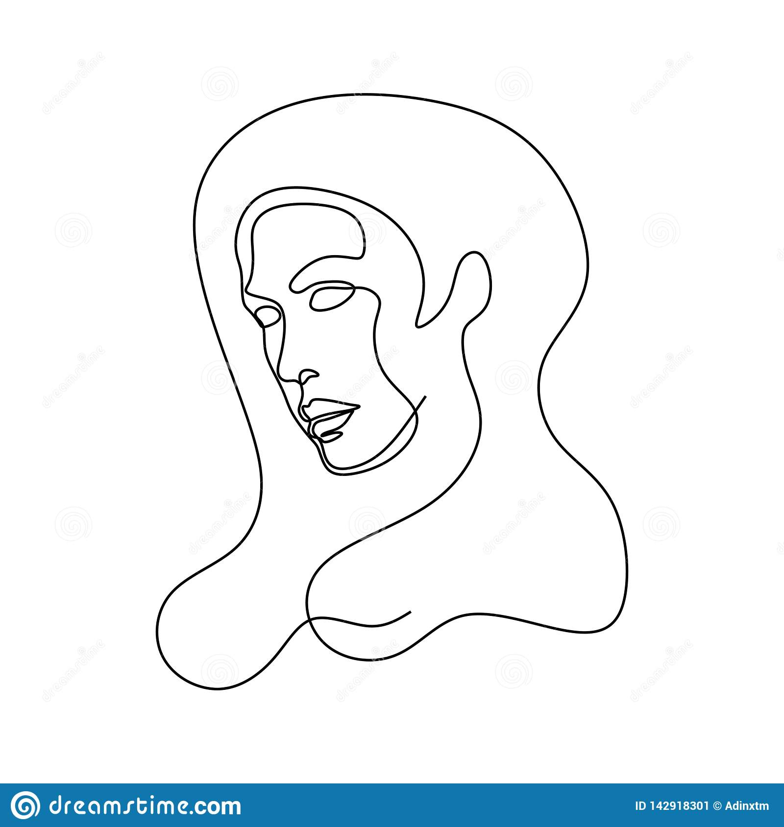 Abstract face one line drawing portrait minimalistic continuous style