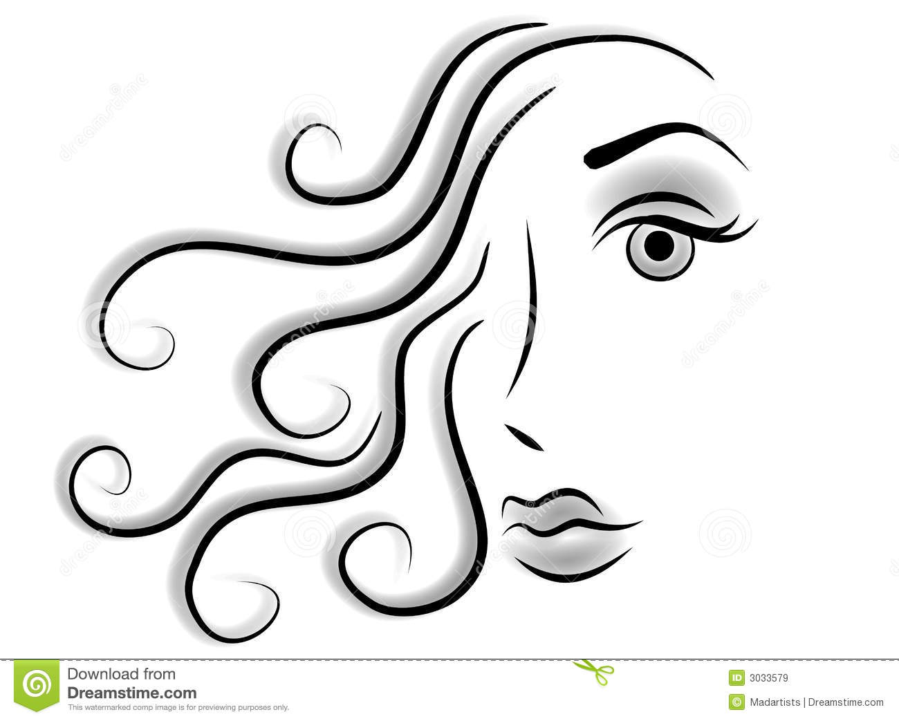 Abstract Face Line Drawing : Abstract face woman clip art stock illustration