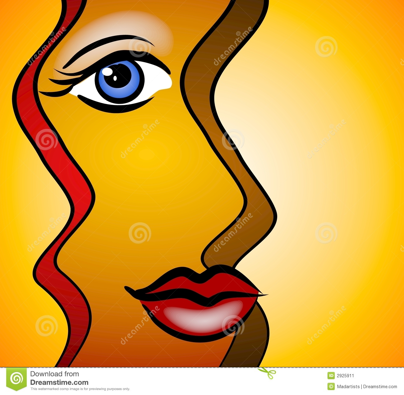Abstract Face Woman Smiling on Smiling Lips Clip Art
