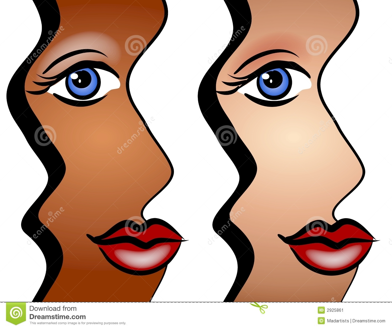Abstract Faces Of Women Art Stock Image - Image: 2925861