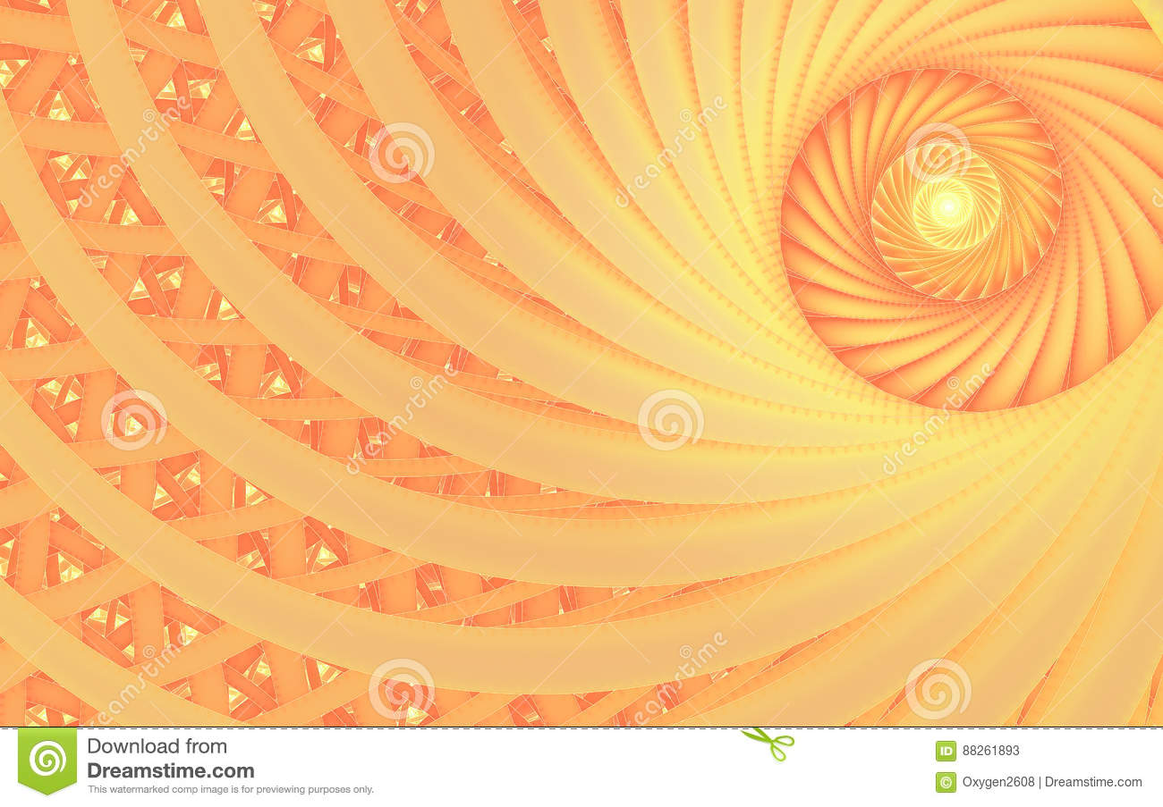 abstract fantasy swirl tunnel with tender peach lines stock