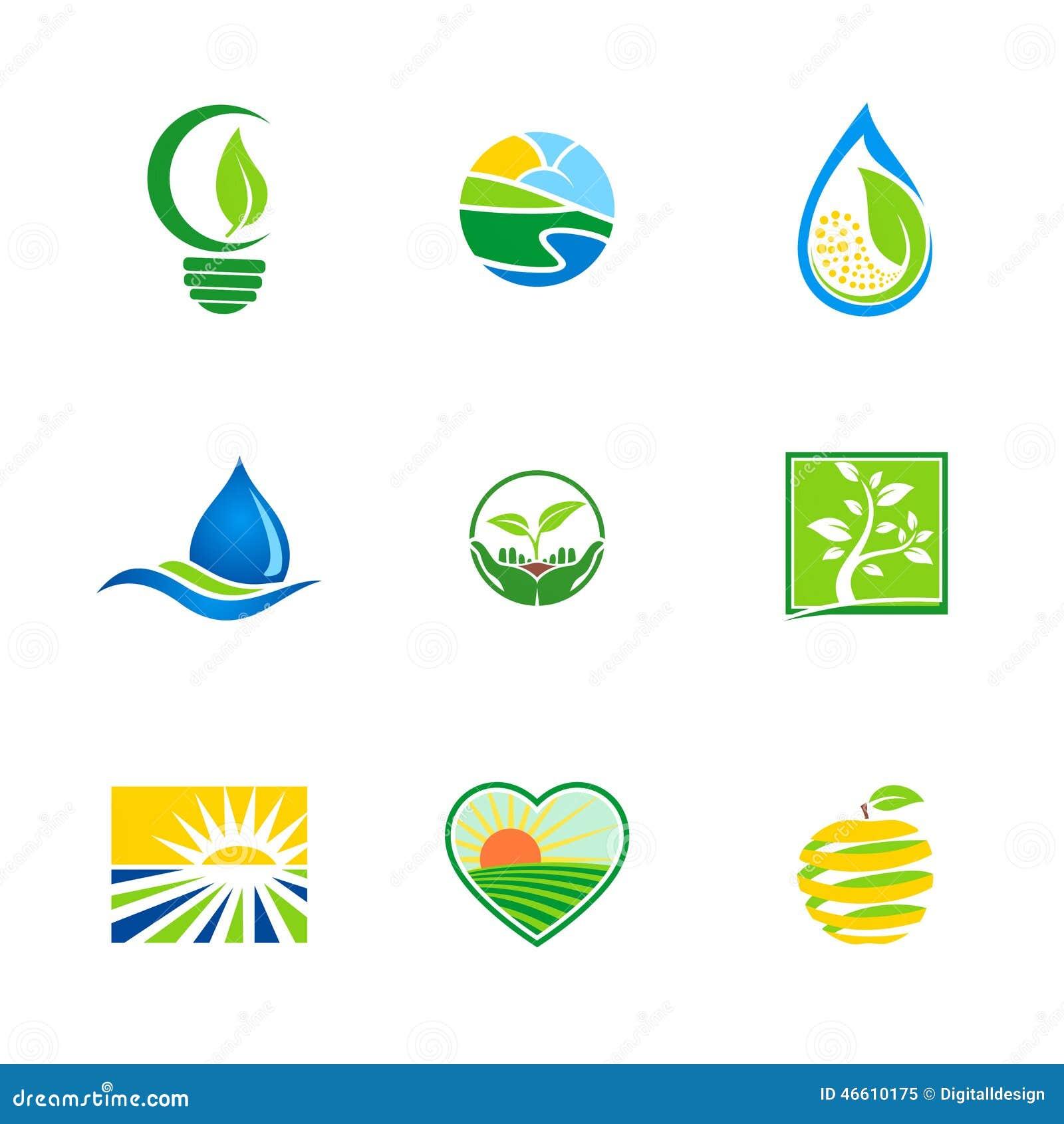 Abstract Farm Environment Bio Ecology Logos Stock