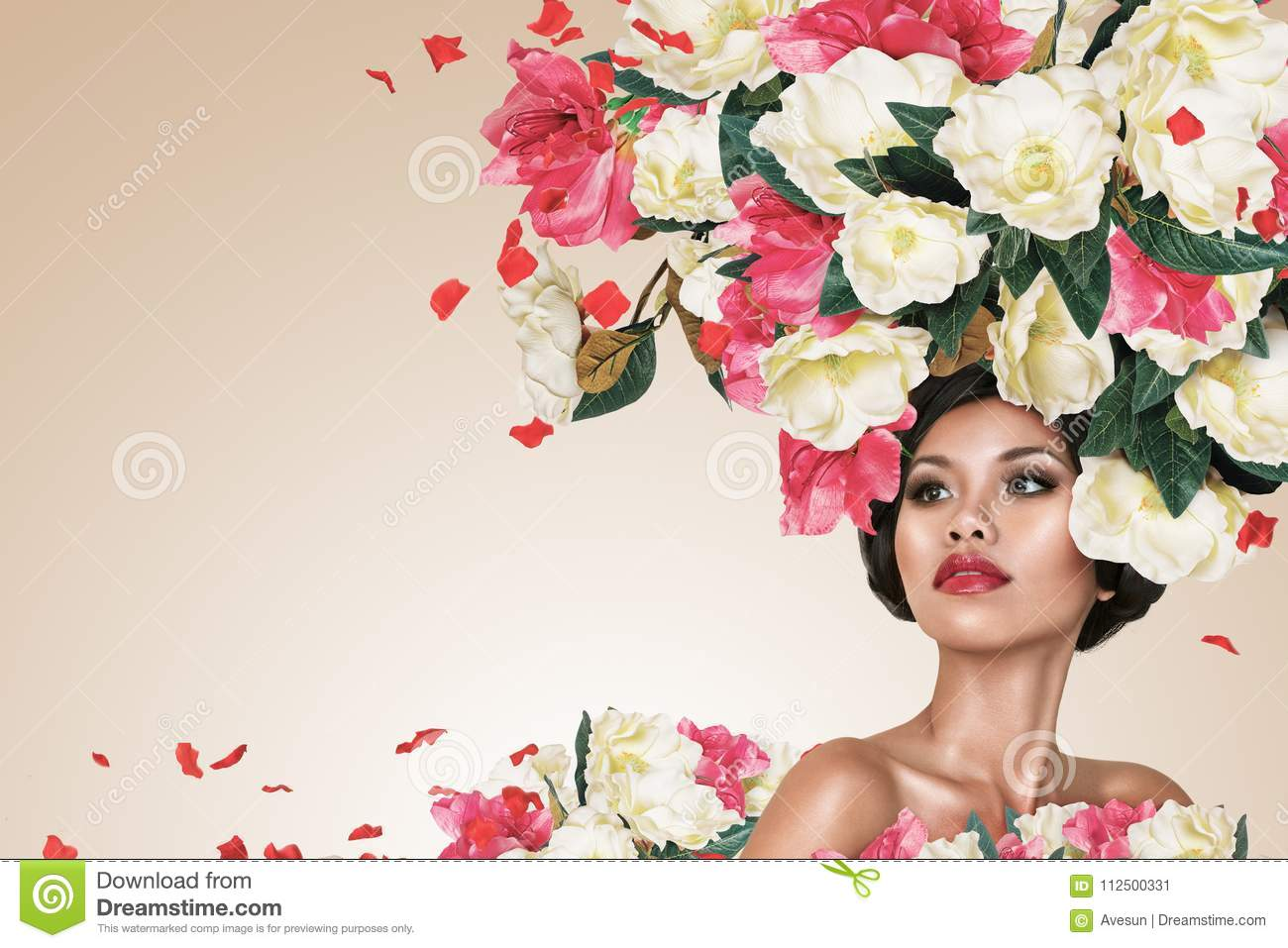 Abstract Portrait Of Young Beautiful Woman With Flowers
