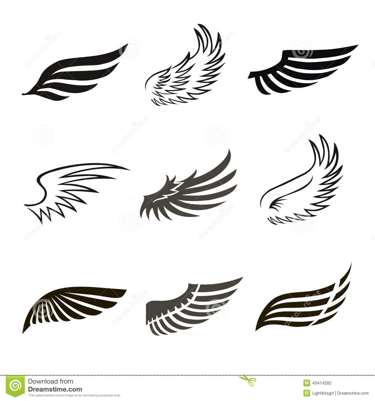 3ab5785f9 Abstract feather angel or bird wings icons set isolated vector illustration.