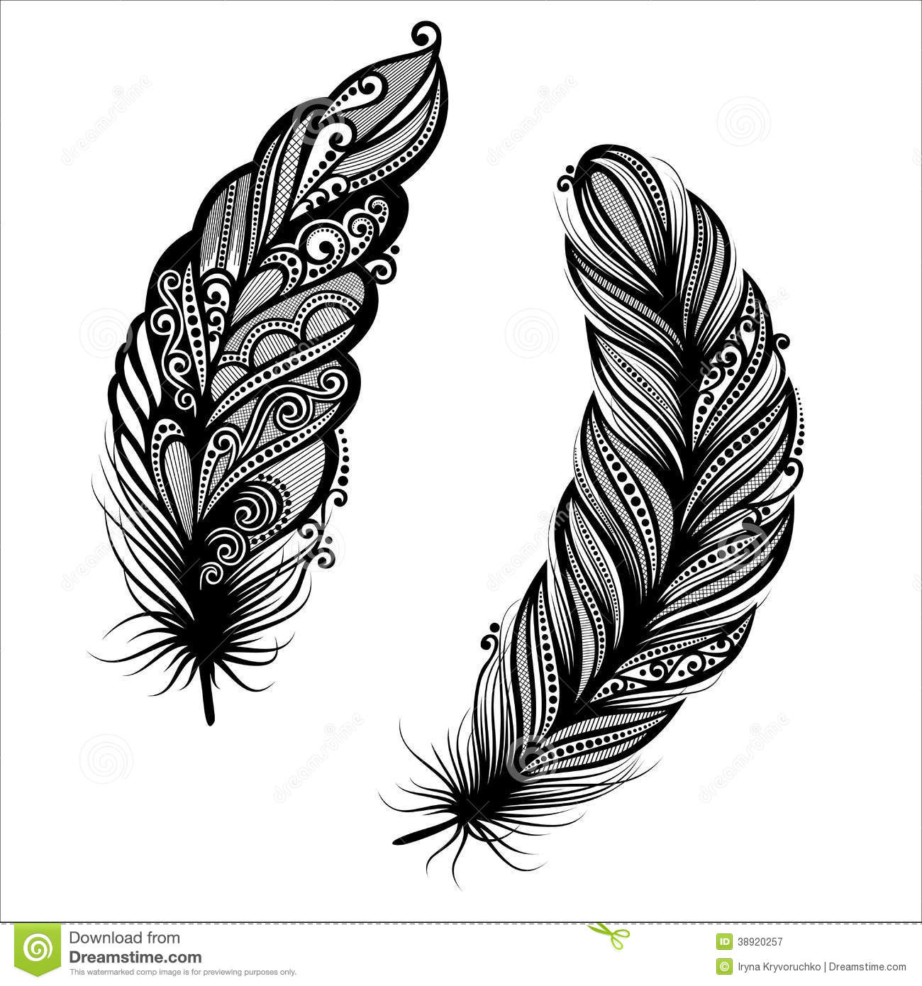 Peerless Decorative Feather (Vector), Patterned design, Tattoo.