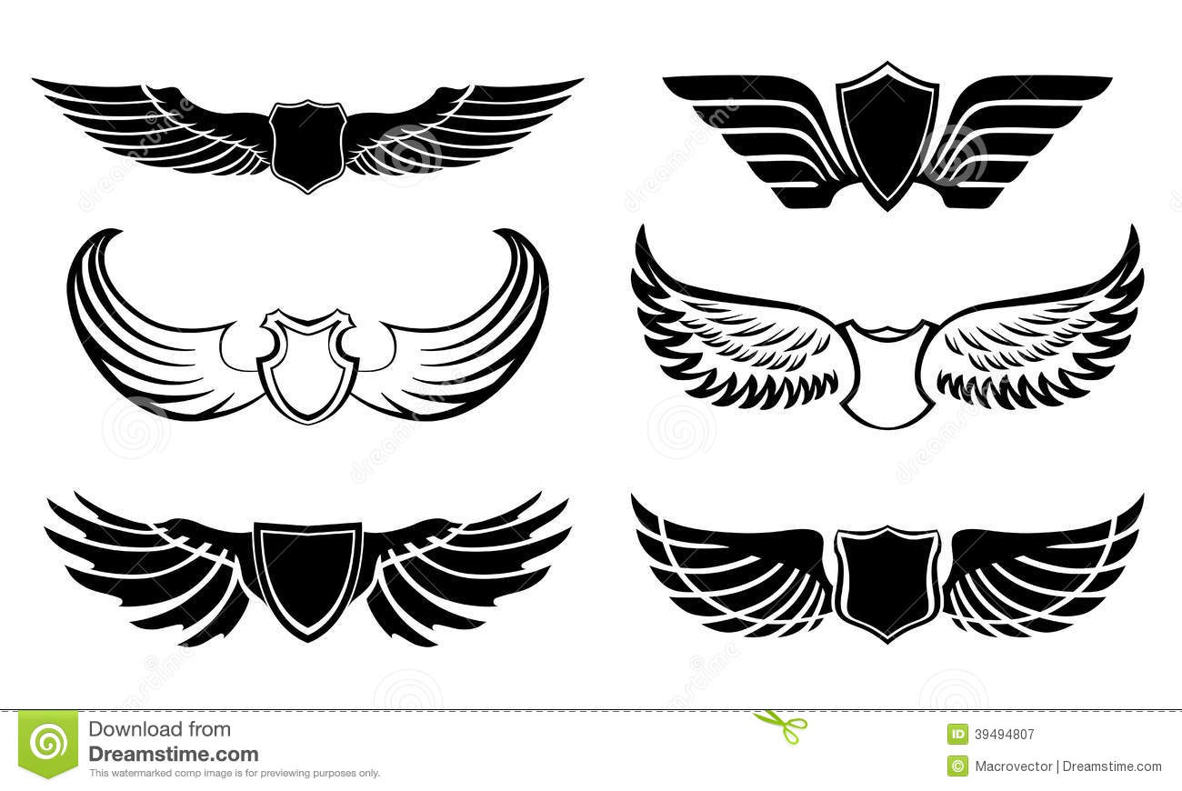 ce3b24d20 Abstract feather angel or bird wings pictograms set isolated vector  illustration