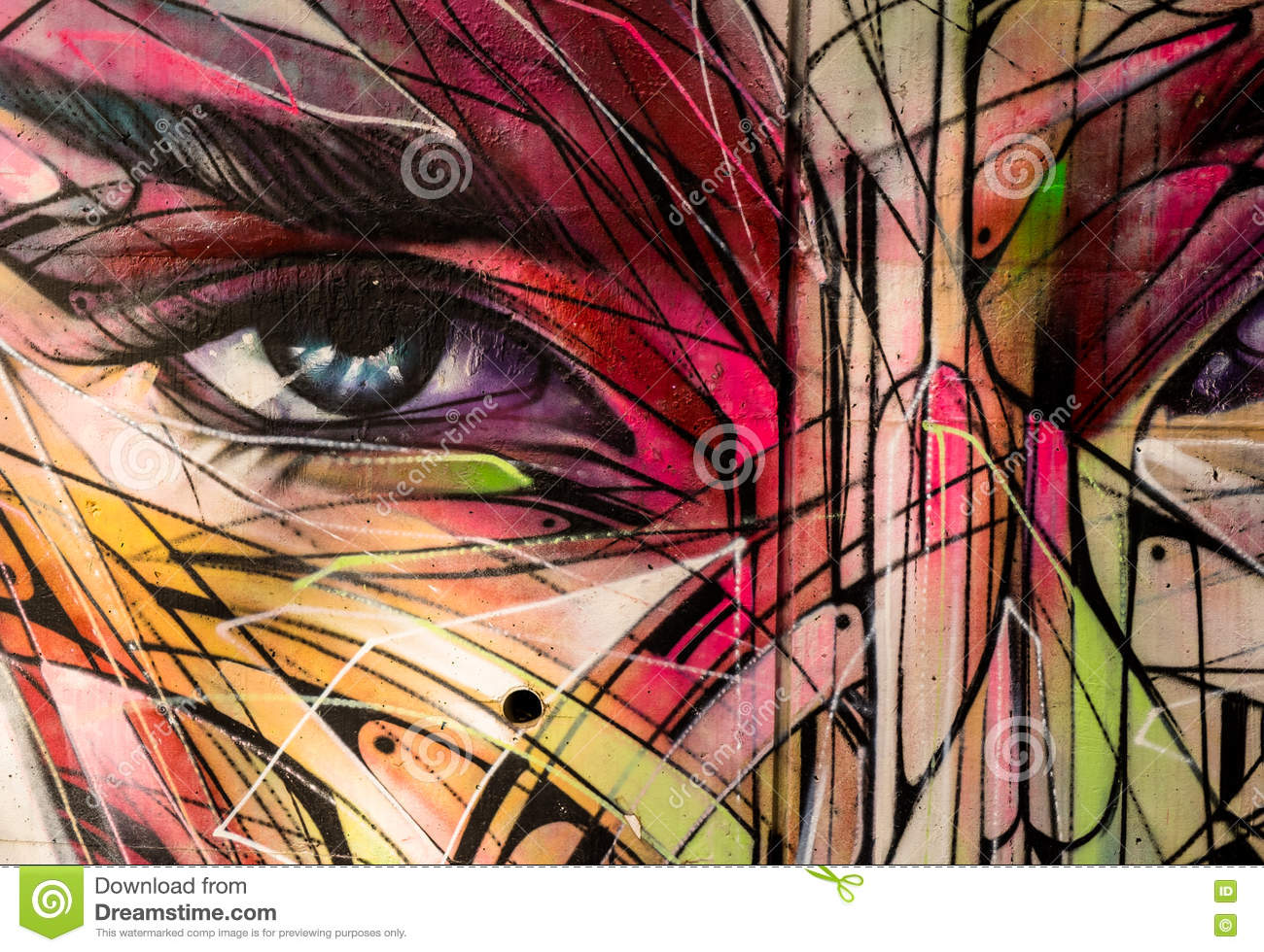 Graffiti face art showing eye and abstract face features hong kong