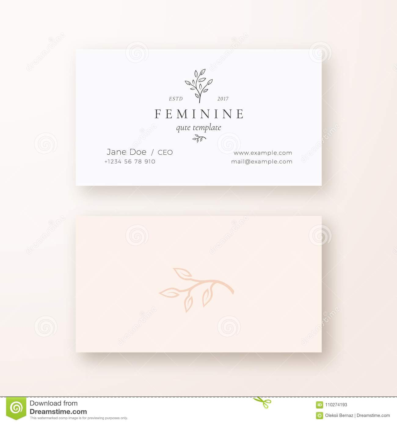 Abstract Feminine Leaf Branch Vector Sign Or Logo And Business Card ...