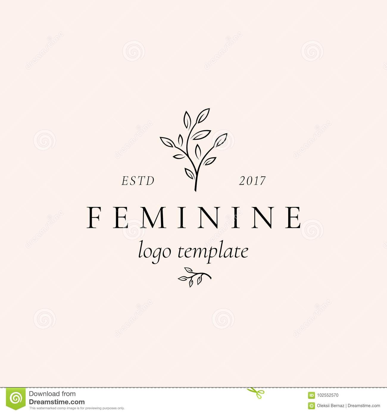Abstract Feminine Vector Sign, Symbol or Logo Template. Retro Floral Illustration with Classy Typography. Premium