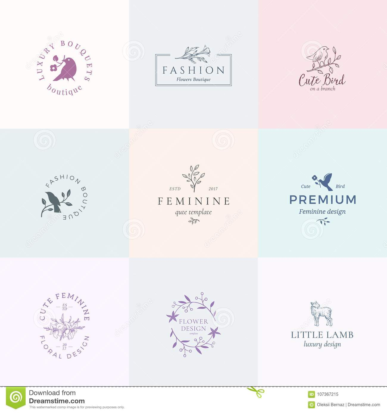 Abstract feminine vector signs symbols or logo templates set abstract feminine vector signs symbols or logo templates set retro floral illustration with classy typography birds buycottarizona Images