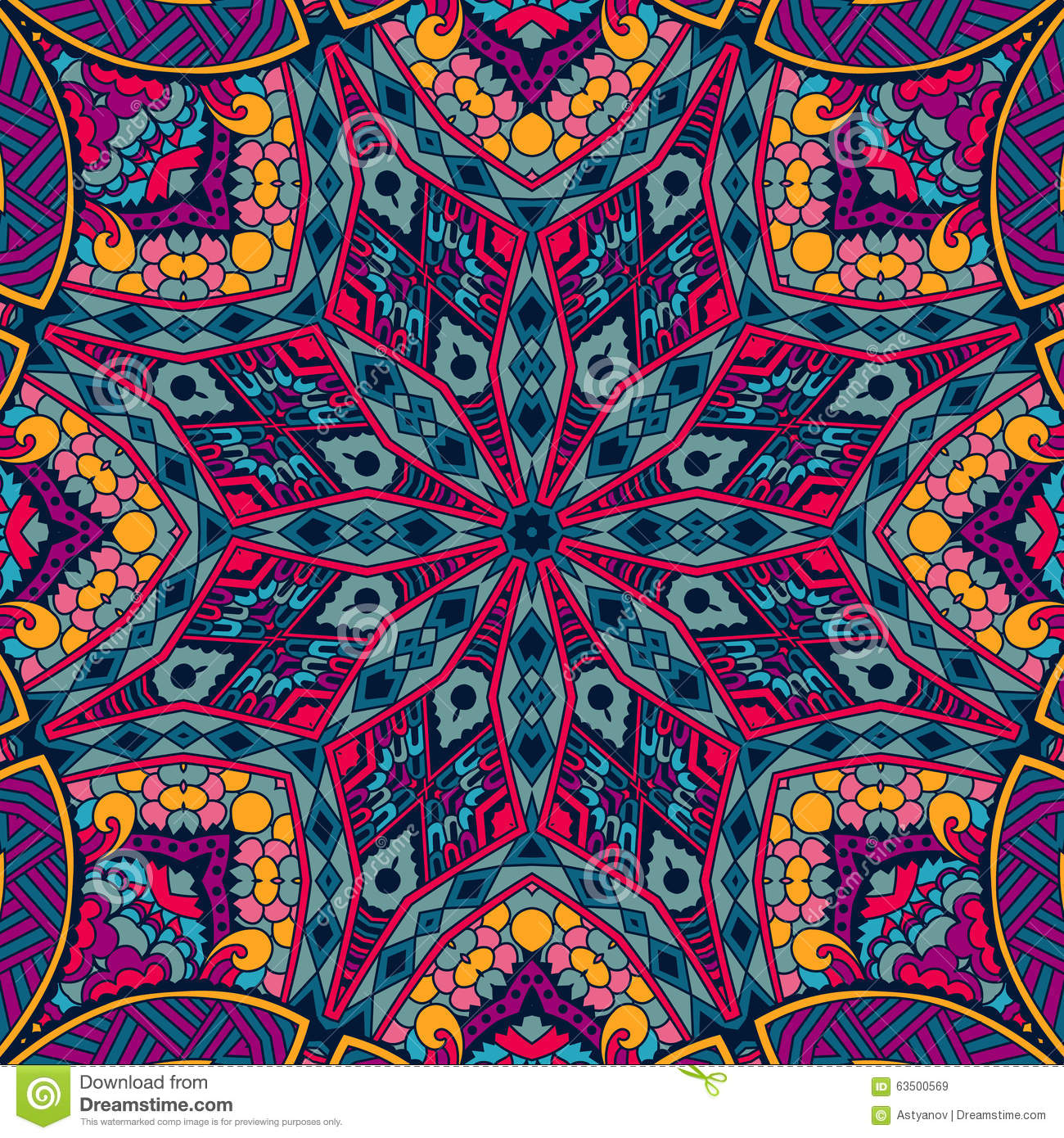 Abstract Festive Colorful Mosaic Vector Ethnic Tribal
