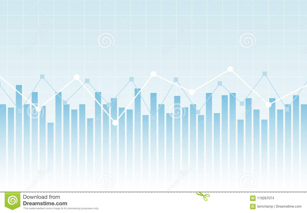 Abstract Financial Chart With Line Graph And Bar Chart On ...