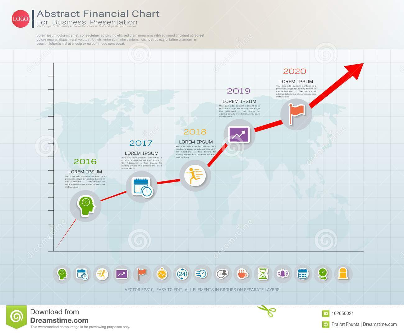 Abstract financial chart with uptrend line graph