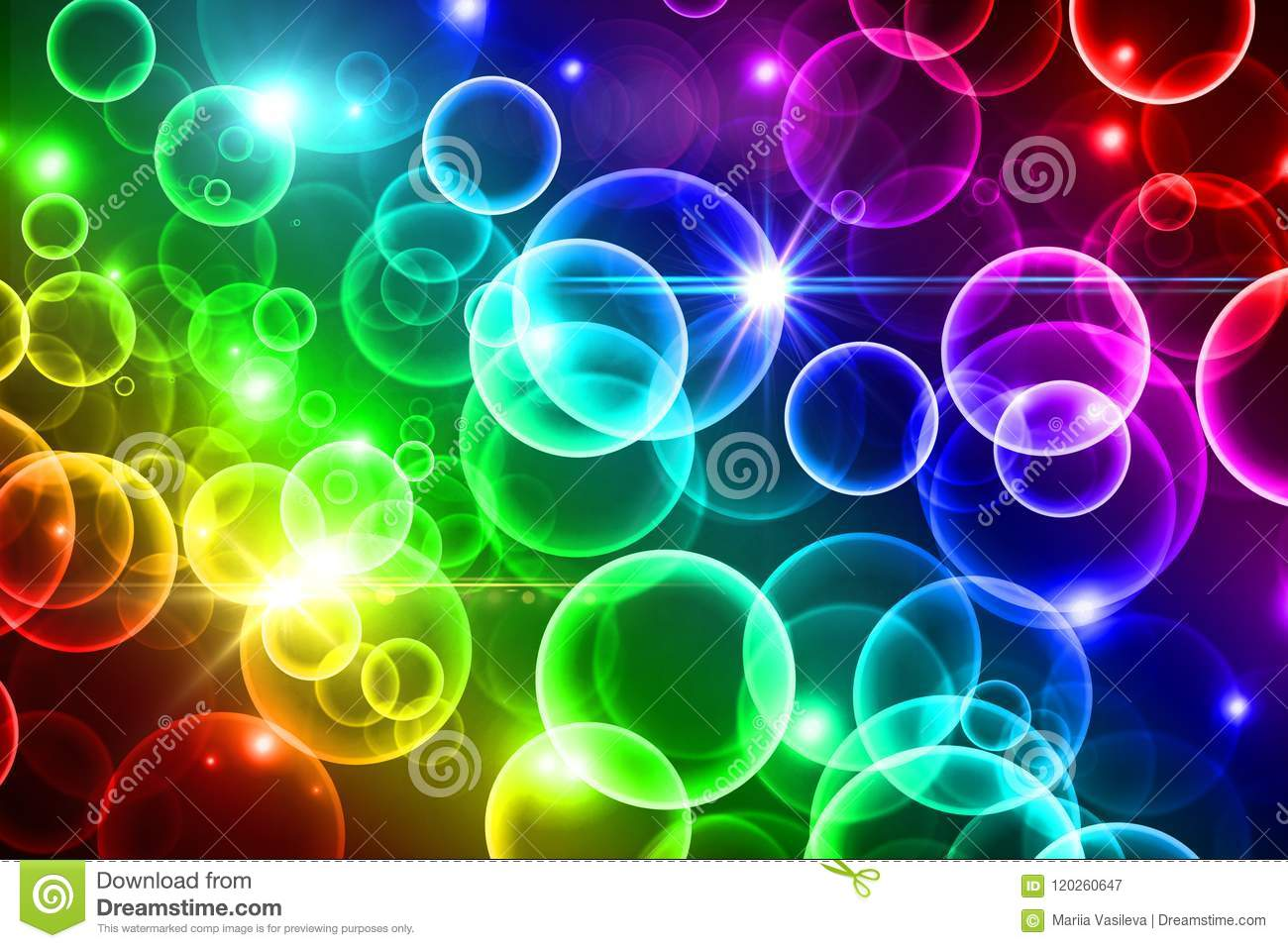Rainbow Notes On Light Background Stock: Bright Rainbow Bokeh Background, Colorful Circles, Light