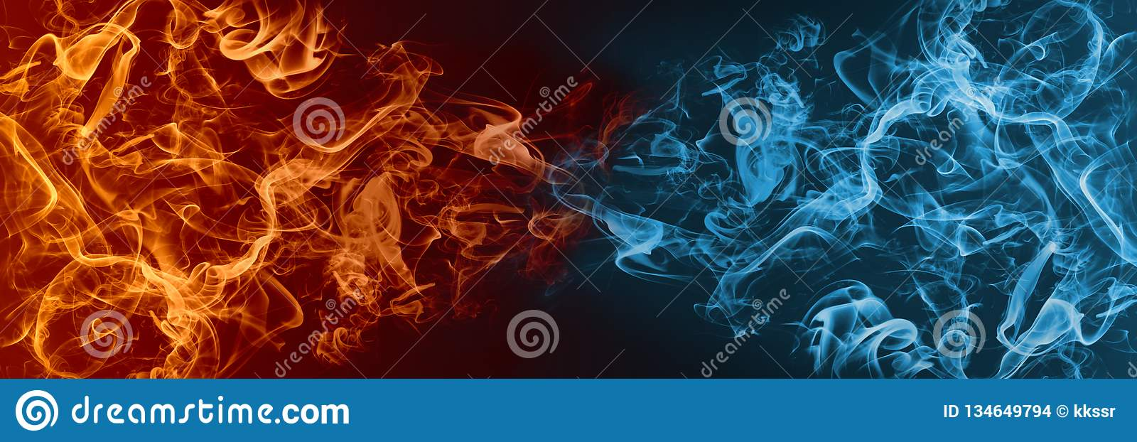 Abstract Fire and Ice element against vs each other background.