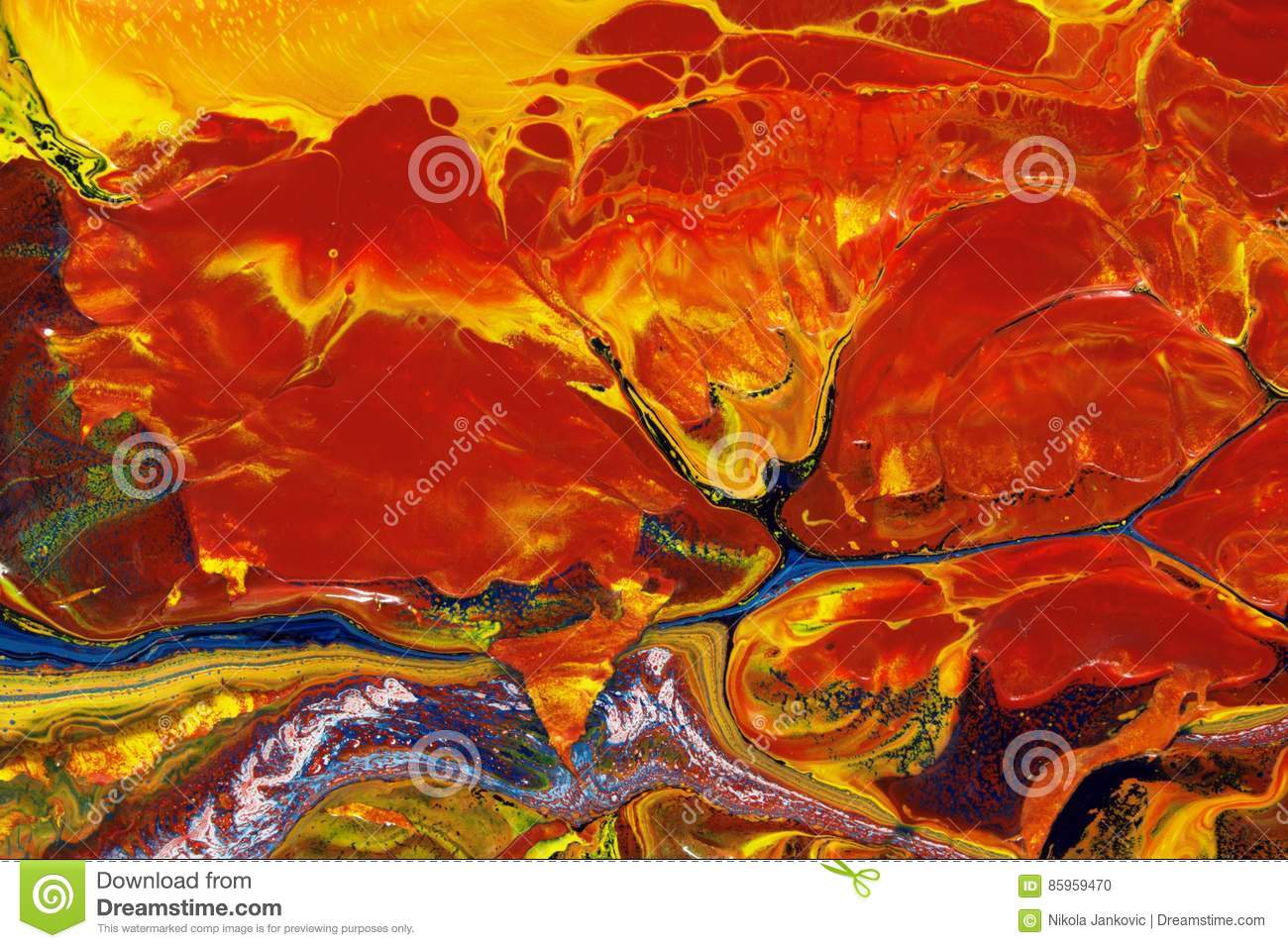 Abstract Fire On Ice Oil On Canvas Painting Stock Photo