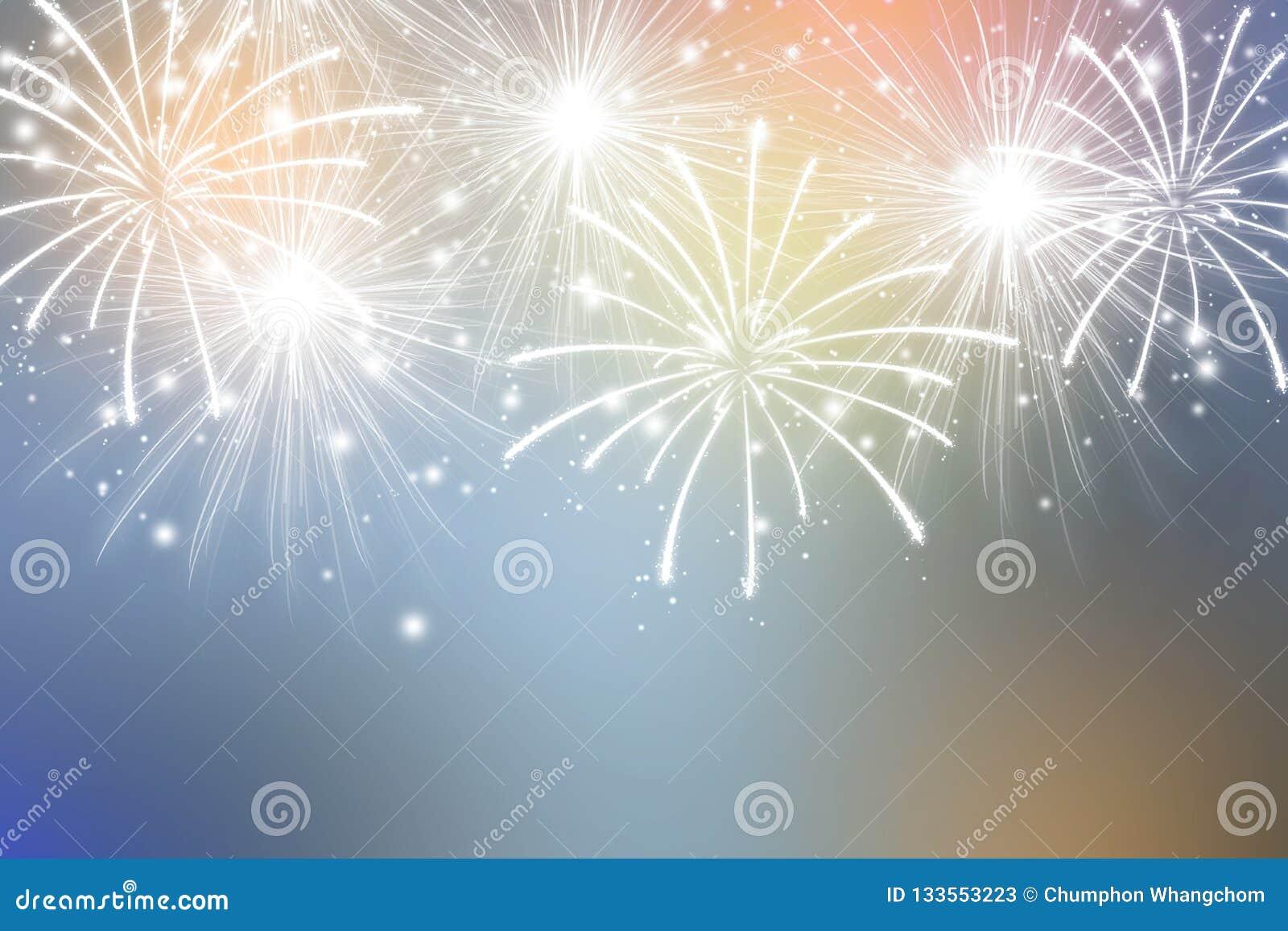 Rainbow Fireworks Celebration Colorful Abstract Image With: Abstract Fireworks On Colors Background. Celebration