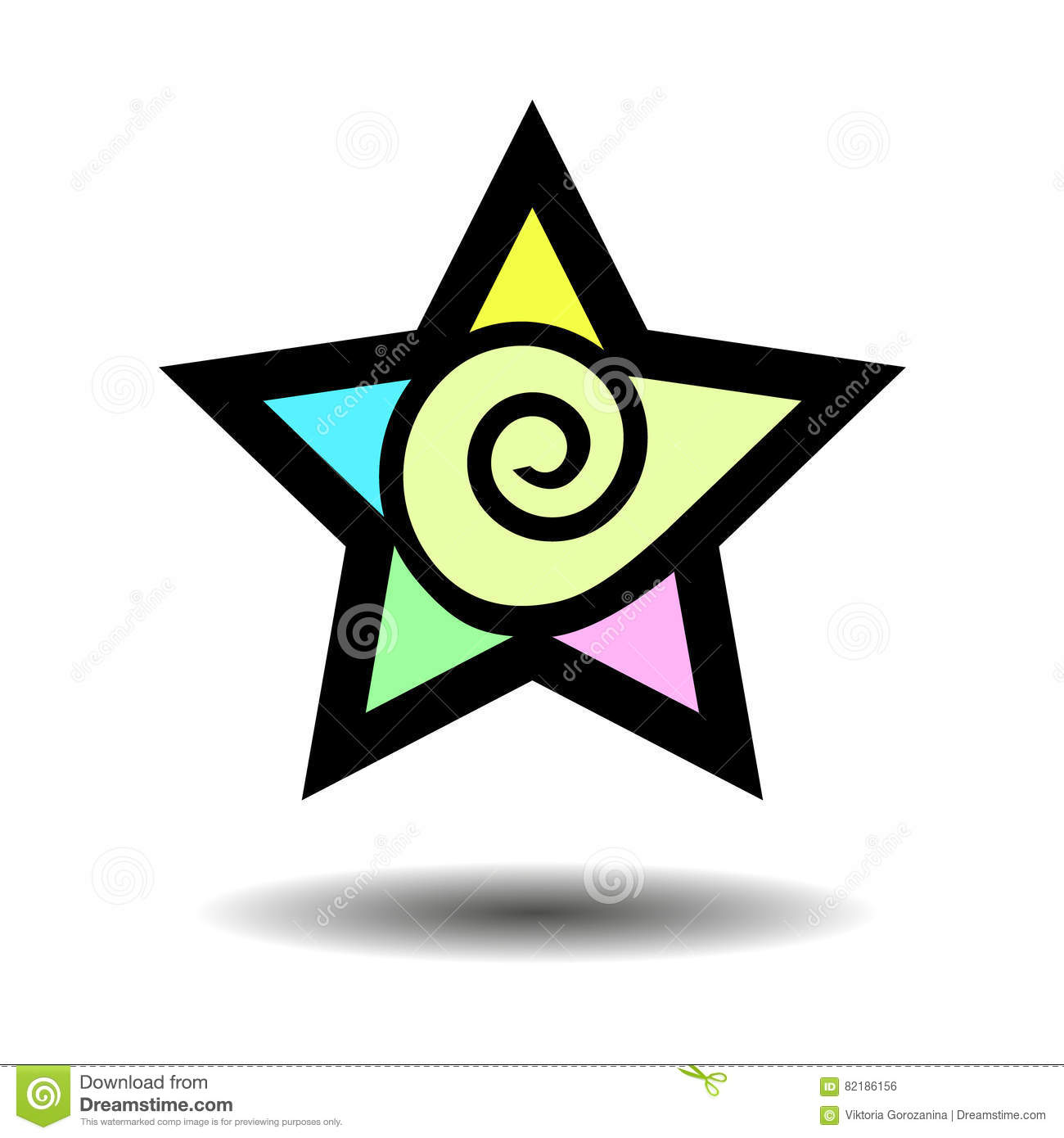 Abstract Five Point Star Geometric Shape Colorful Star Symbol