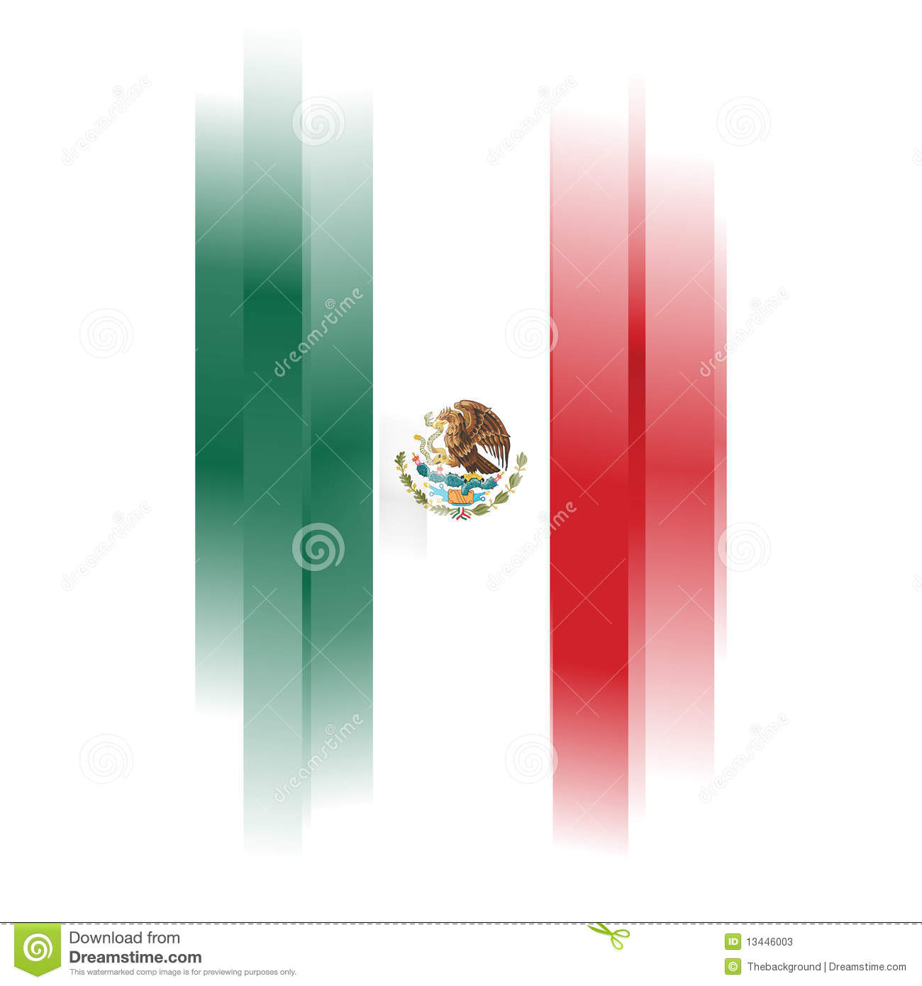 abstract flag of mexico on white background stock photos