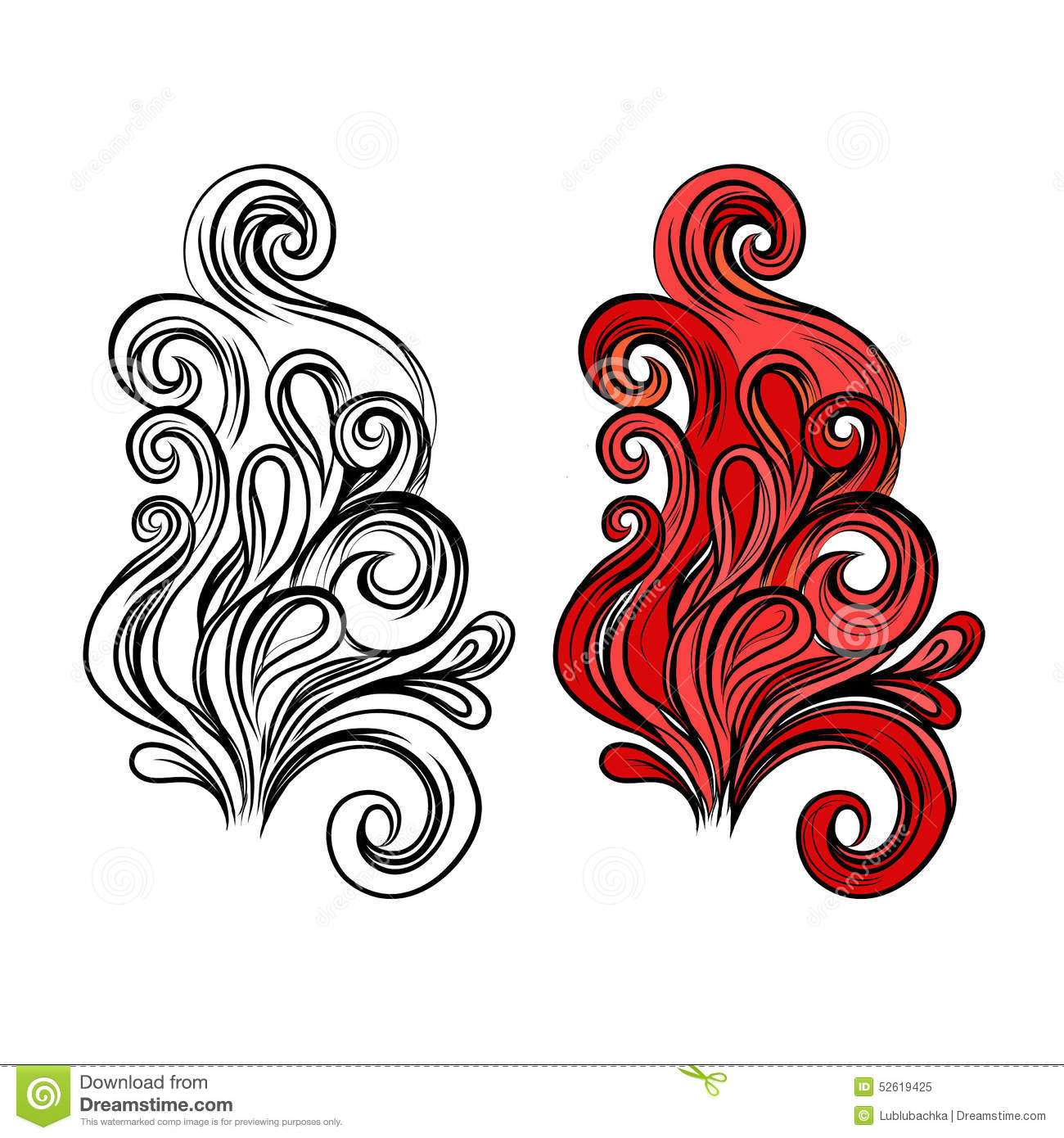 Abstract Flame Vector Symbol In Color And With Black