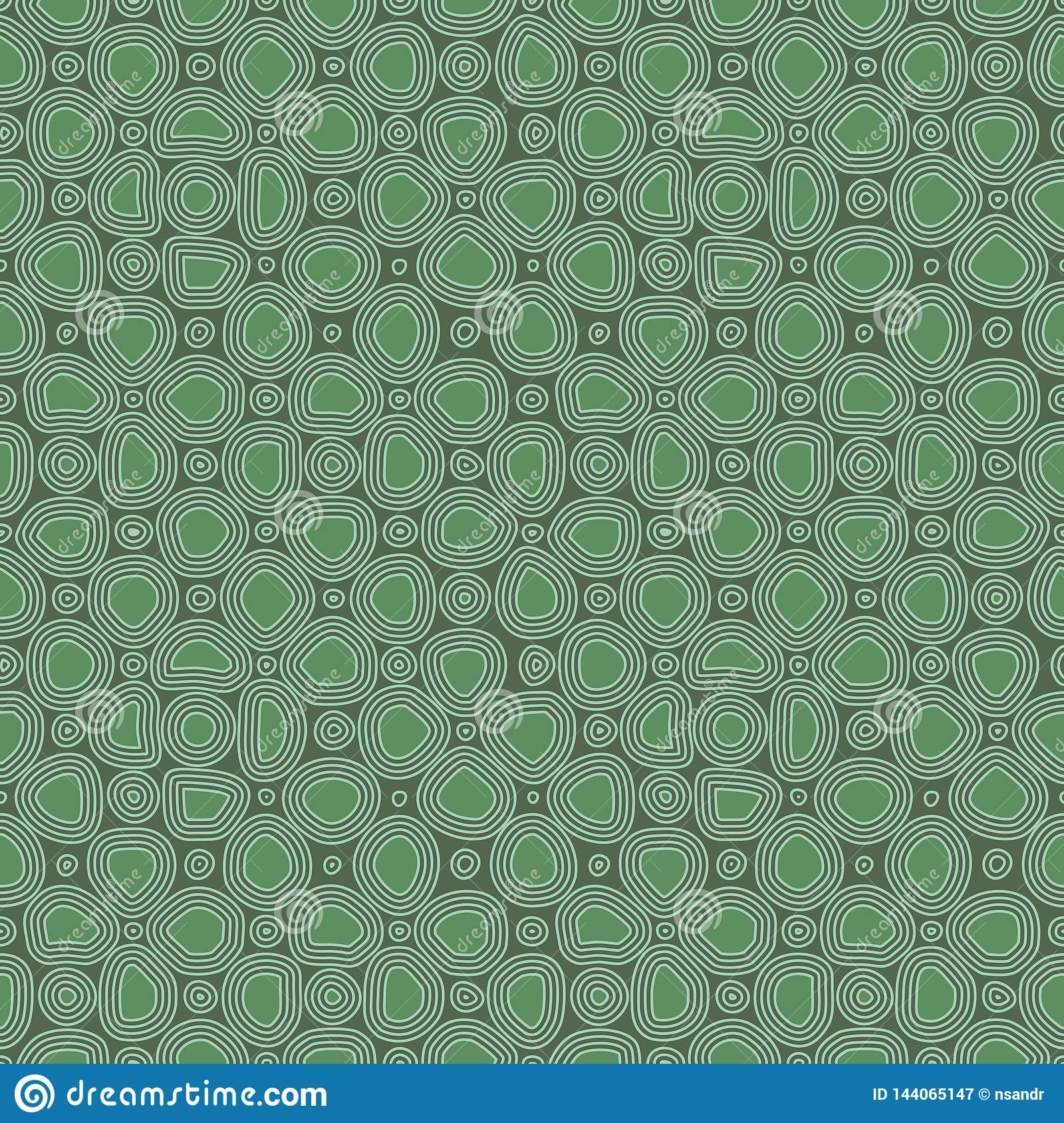 Abstract flat stones, hand drawn ethnic pattern. Vector green retro ornament for textile, prints, wallpaper, wrapping paper, web