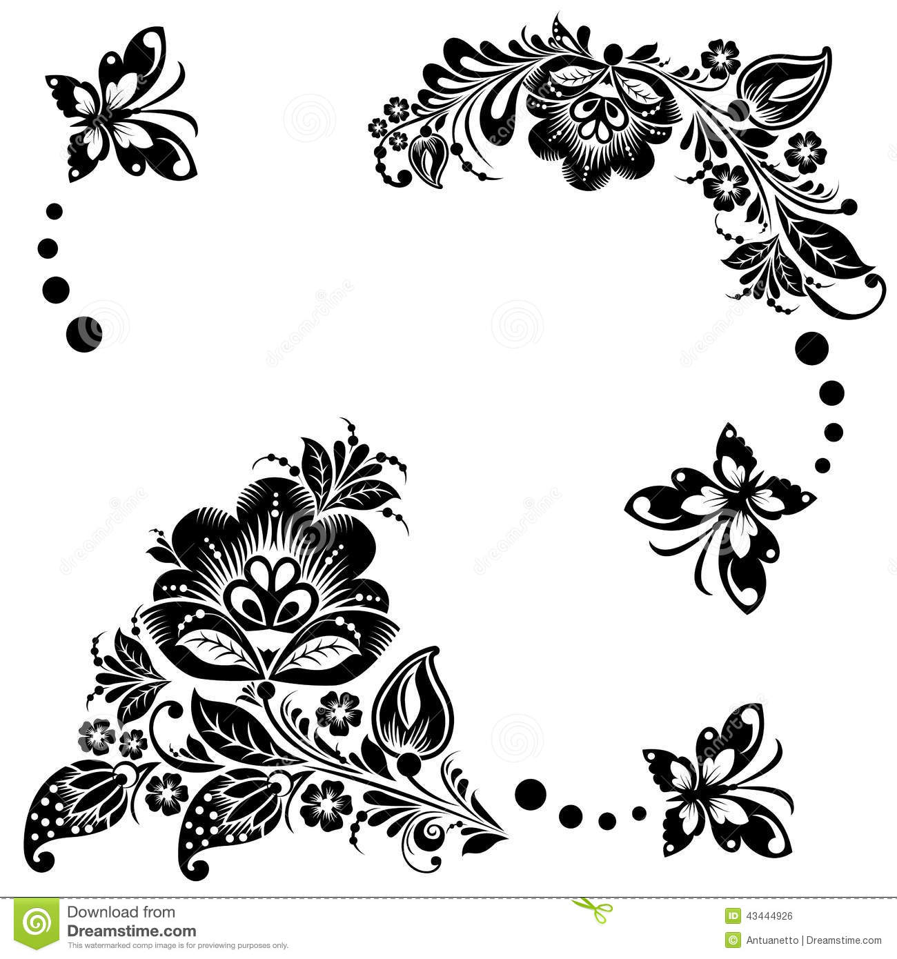 Abstract Floral Background With Butterflies. Stock Vector