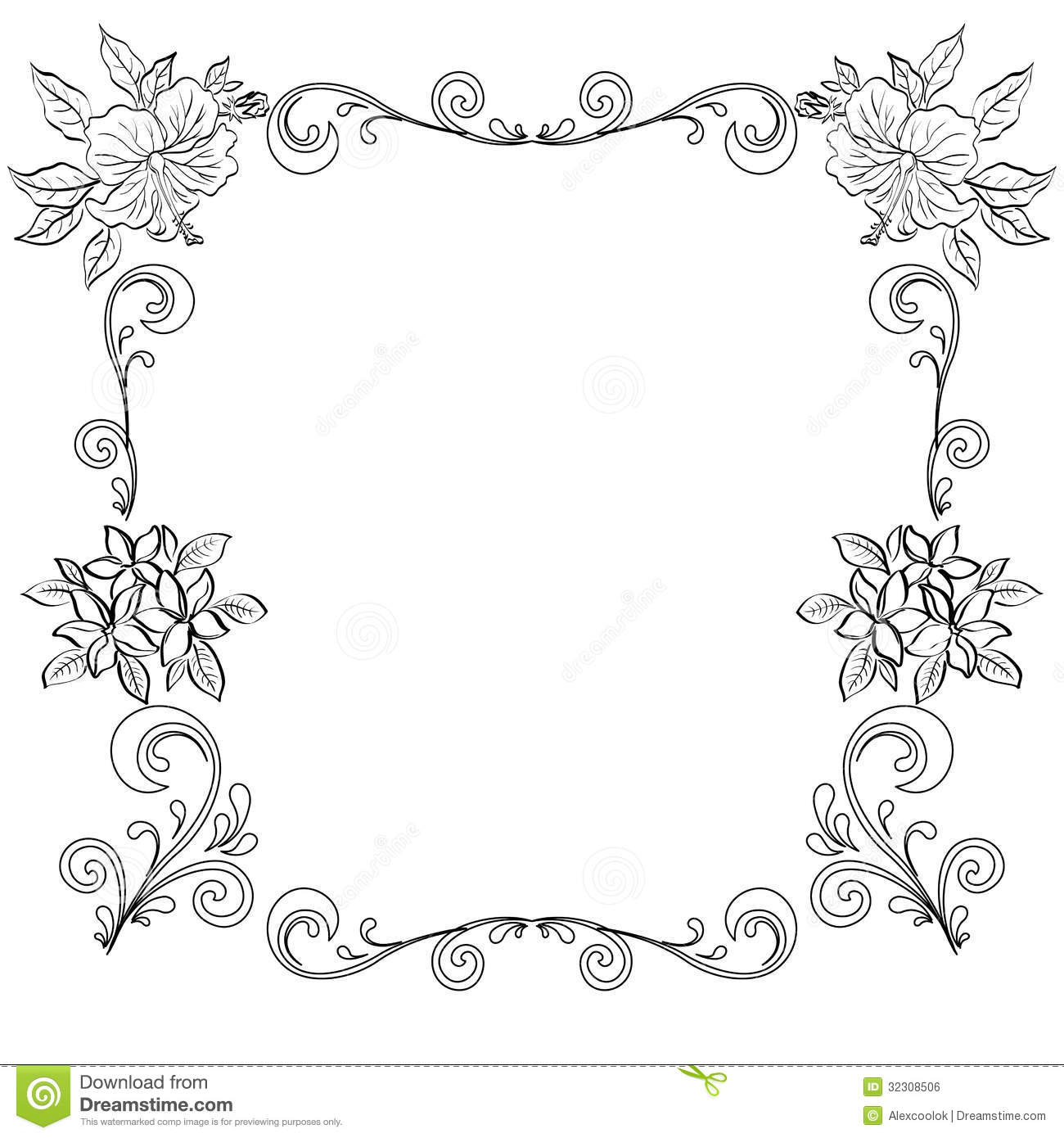 Abstract Floral Background Outline Stock Vector