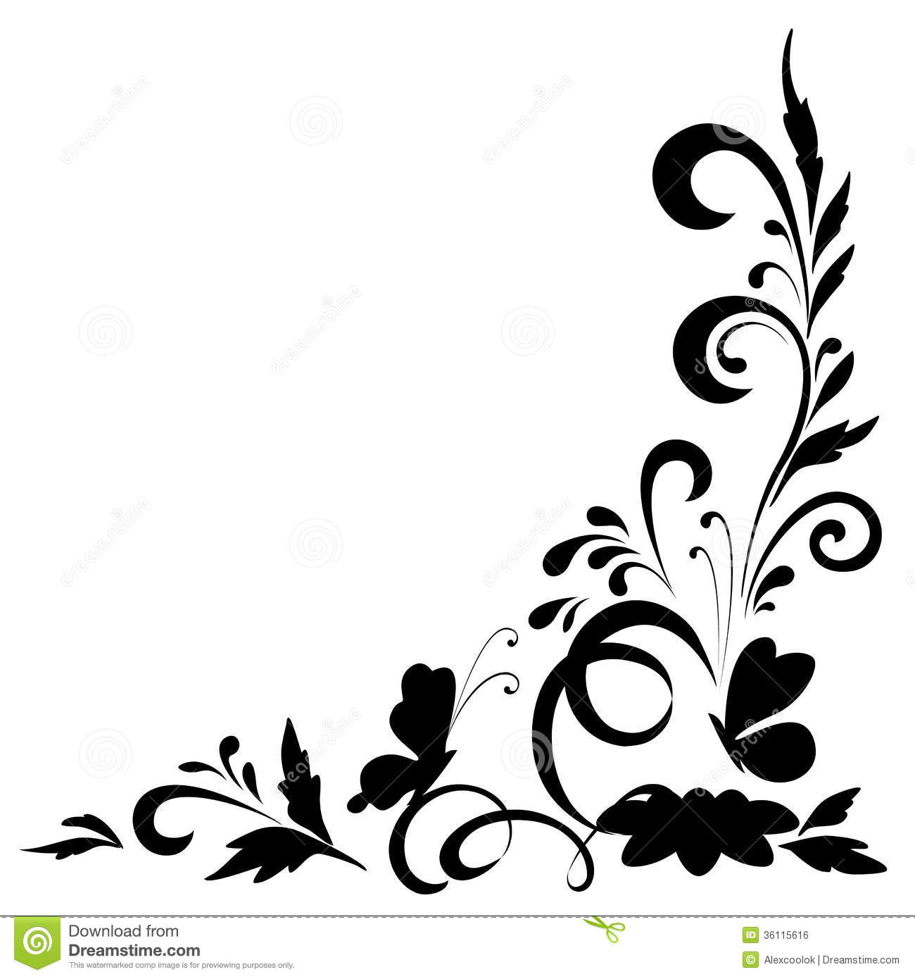 Abstract Floral Background, Silhouettes Stock Vector