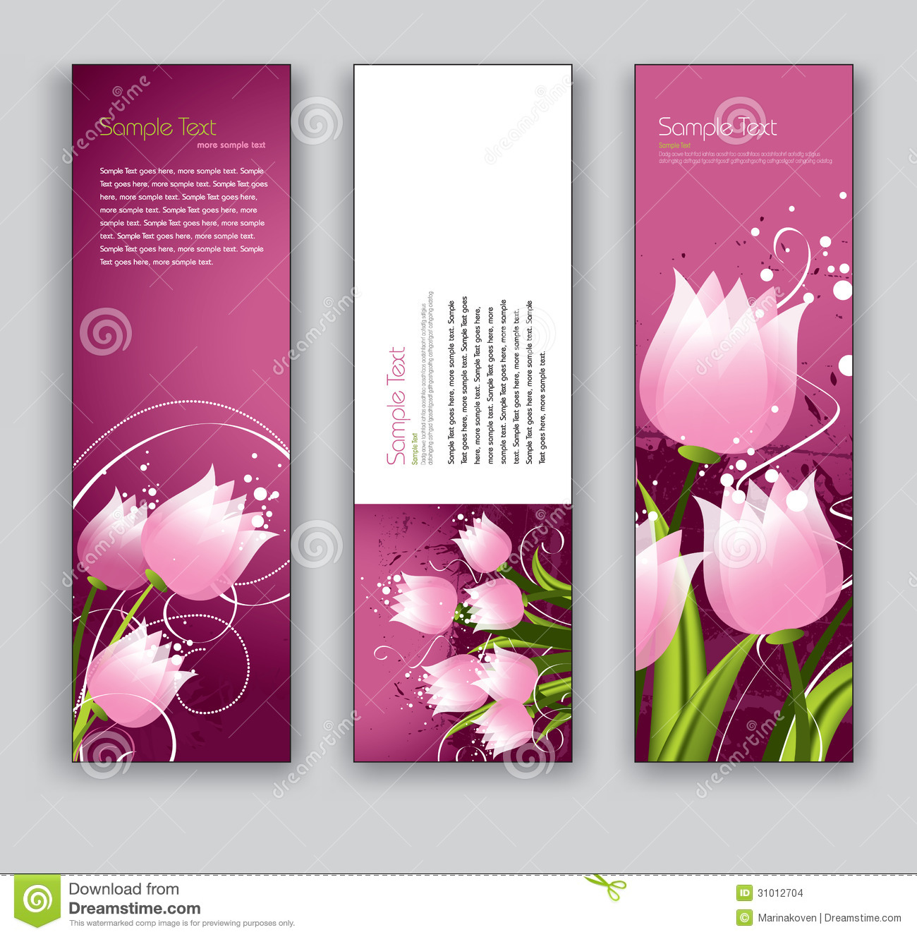 Abstract Floral Banners. Vector Eps10 Backgrounds. Stock