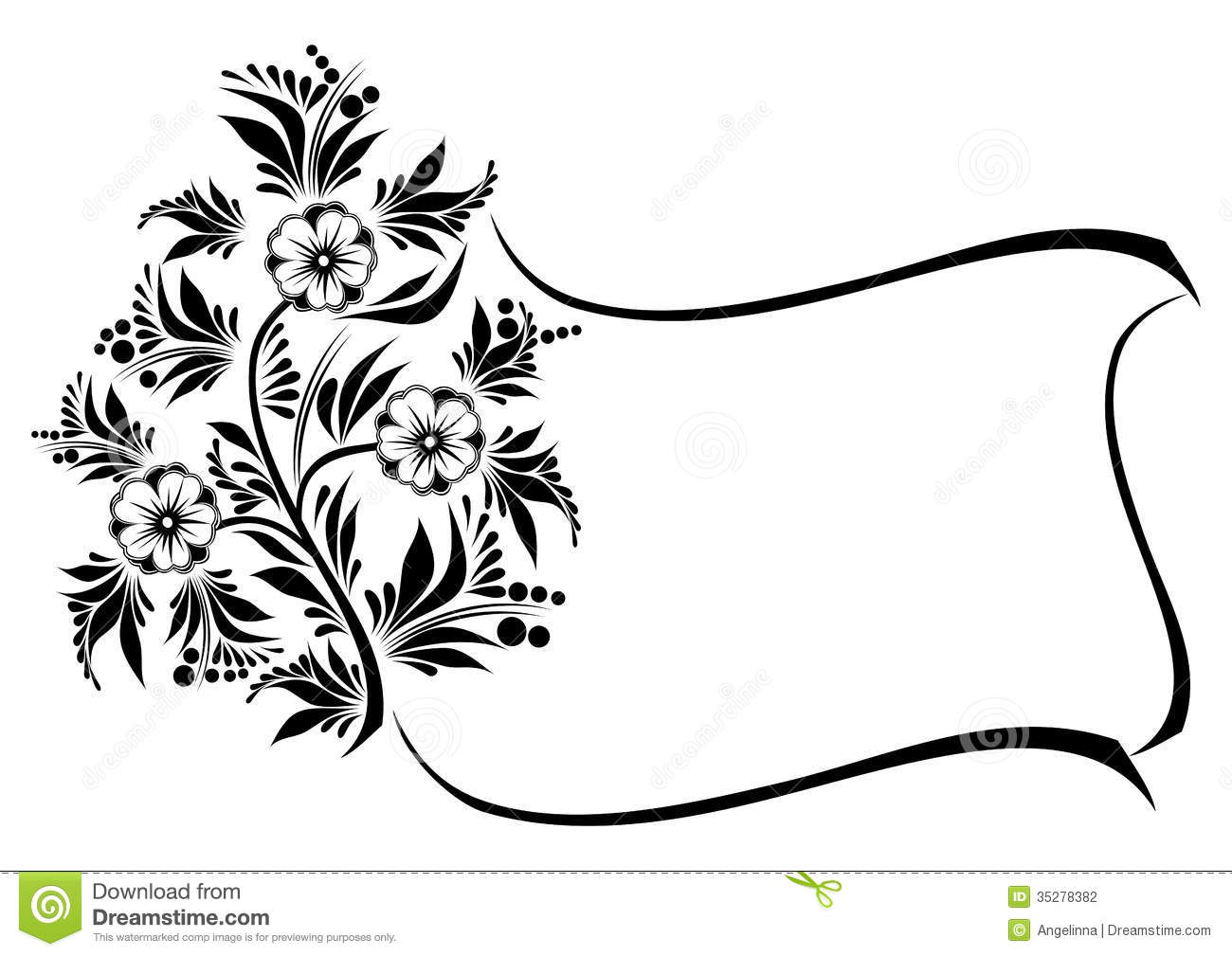 Abstract Floral Branch With Frame Stock Vector Image