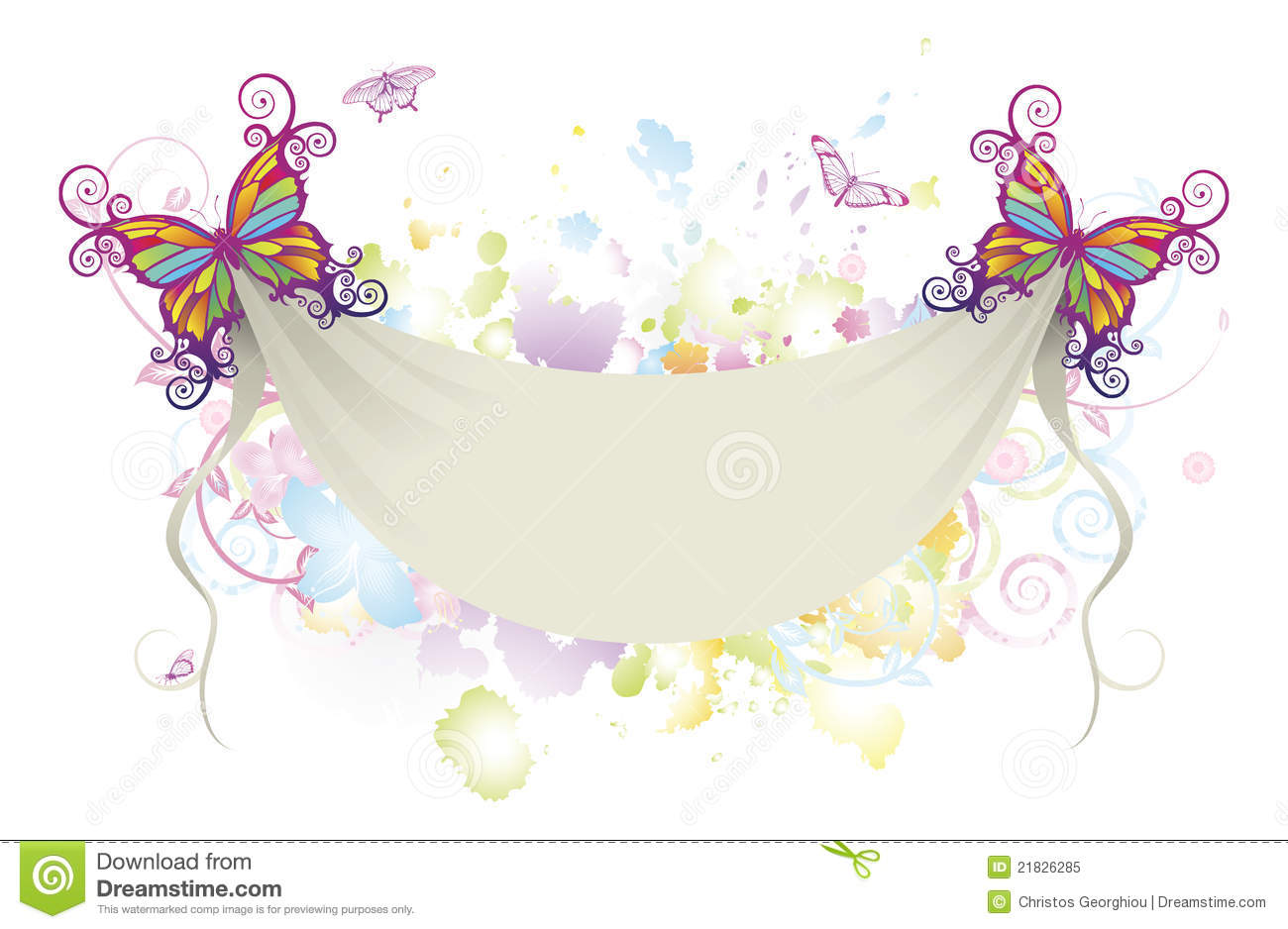 Abstract Floral Butterfly Banner Background Royalty Free Stock Photo ...