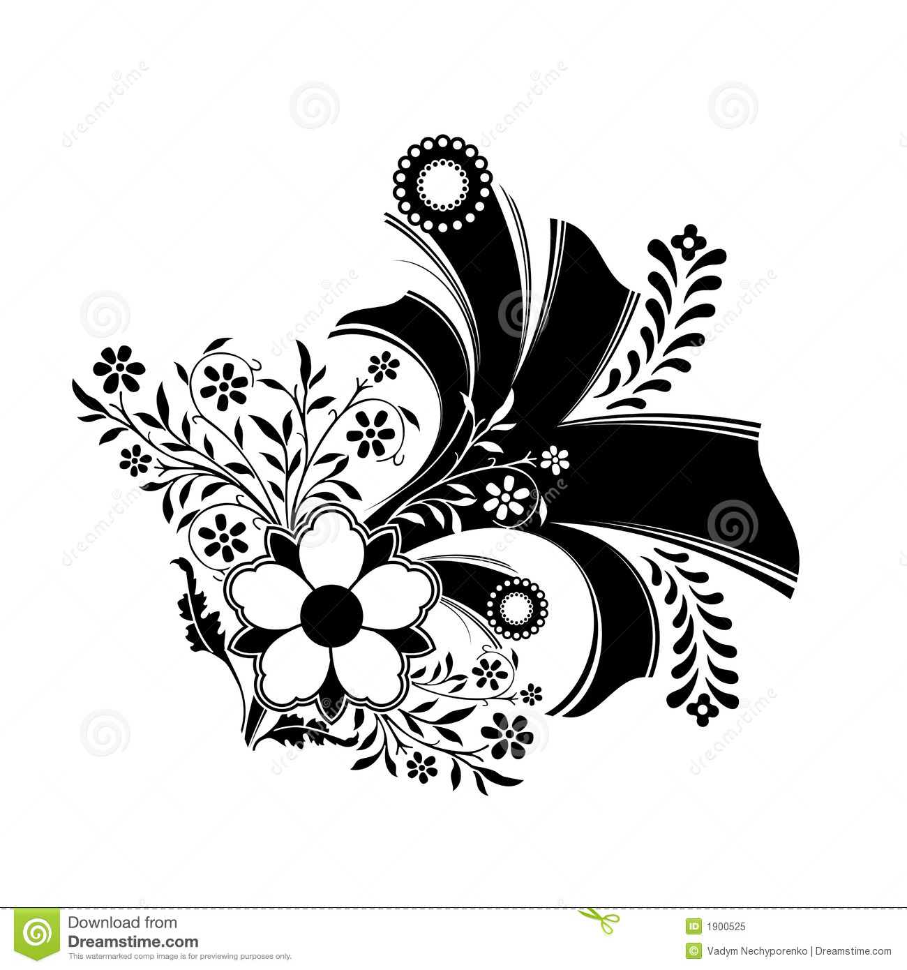 Abstract floral decoration artwork in black color vector for Art et decoration 2012