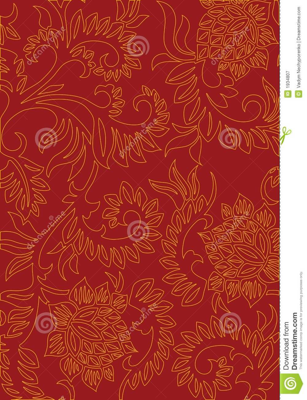 Abstract floral decorative background on red color vector - Dreaming about the color red ...