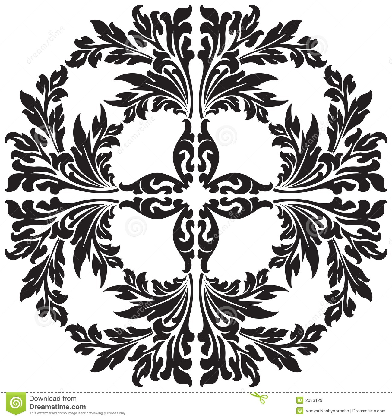 Abstract Flower Background With Decoration Elements For: Abstract Floral Decorative Element In Black Color Vector