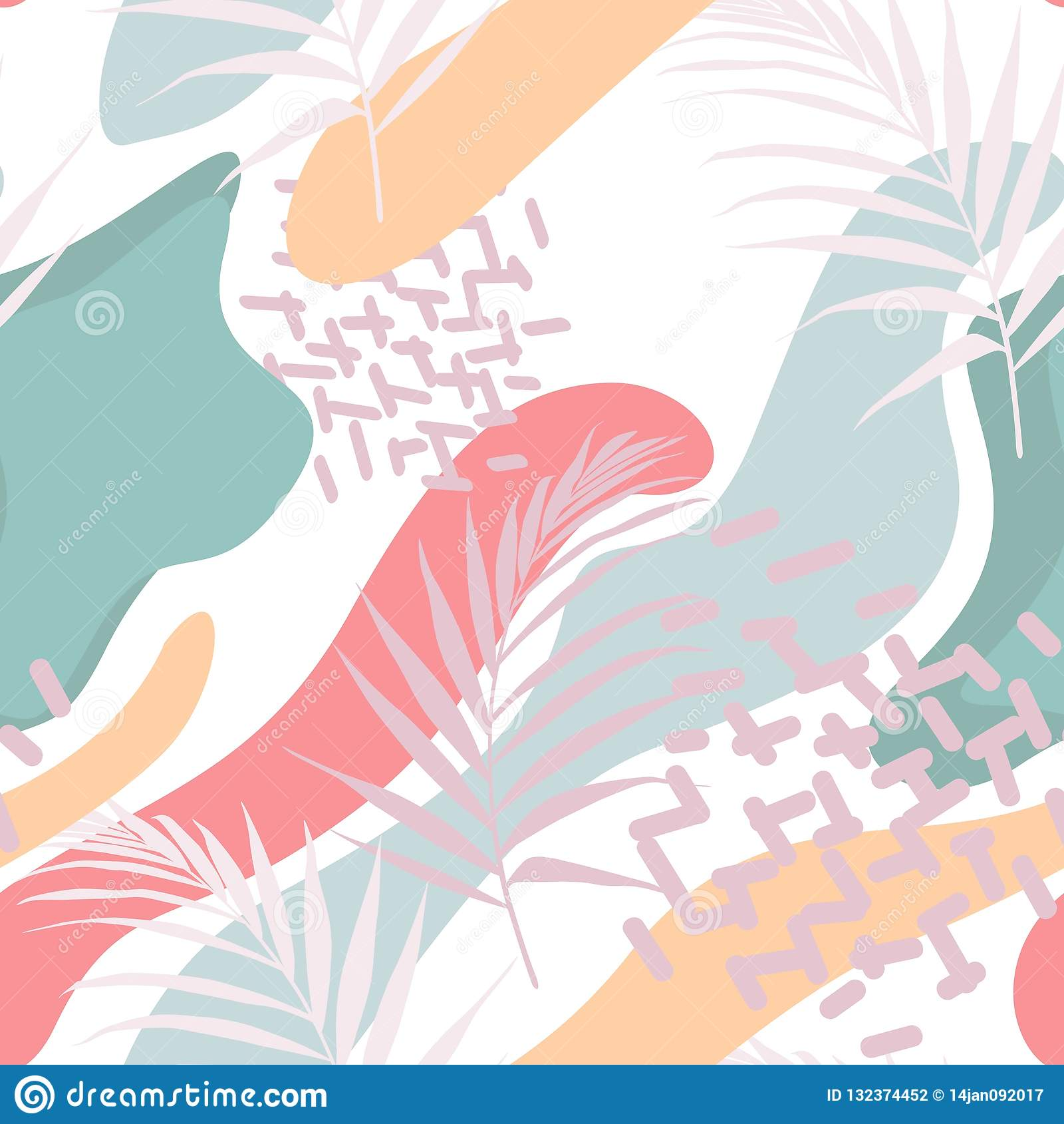 Abstract floral element, paper collage. Vector hand drawn illustration.