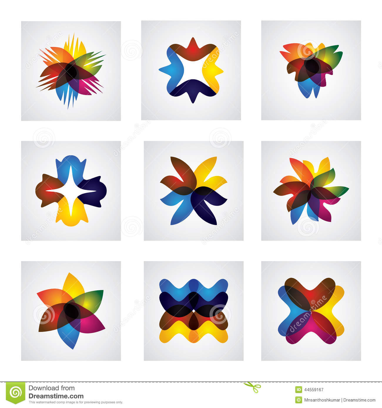Download Abstract Floral Or Flower Element Design Vector Icons Stock Illustration