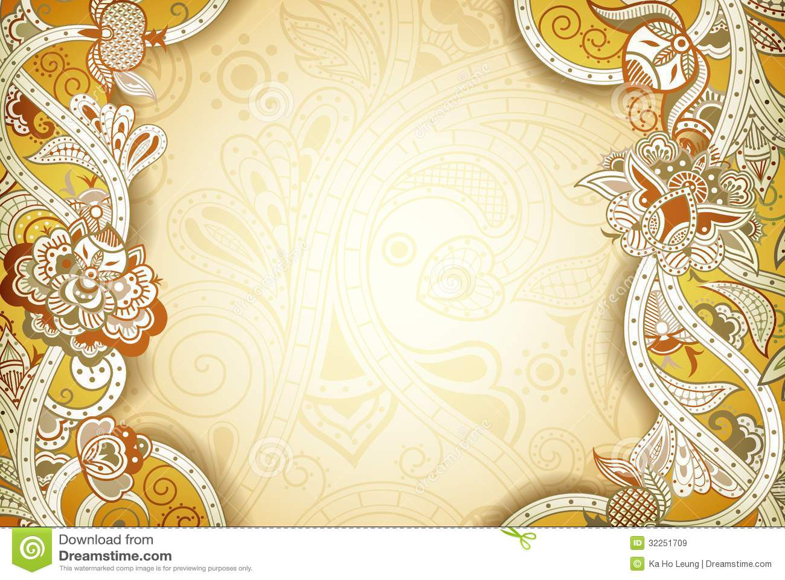 Abstract Floral Frame Background Stock Illustration Illustration