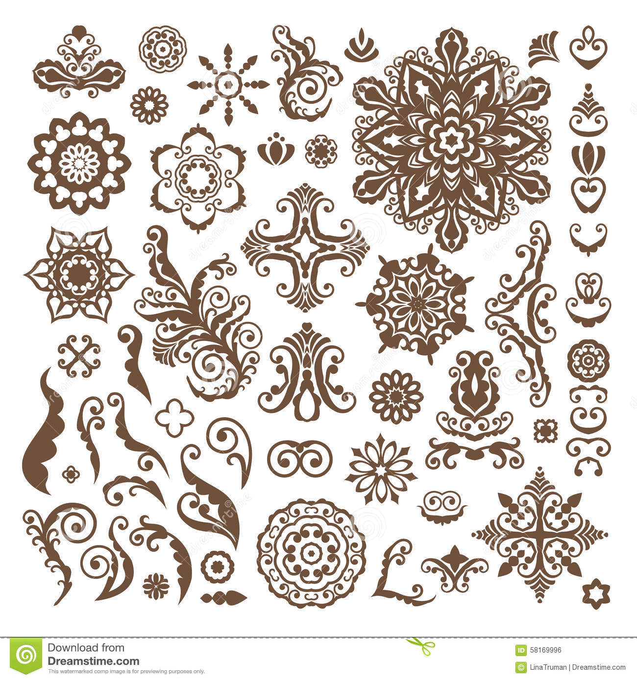 Abstract Flower Background With Decoration Elements For: Abstract Floral Illustration Design Elements On White