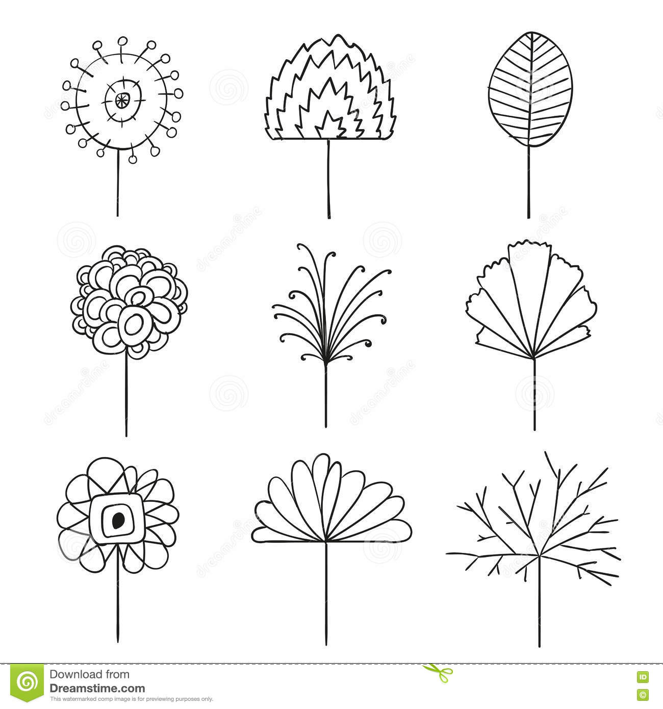 Line Art Design Abstract : Abstract floral line drawing design elements stock