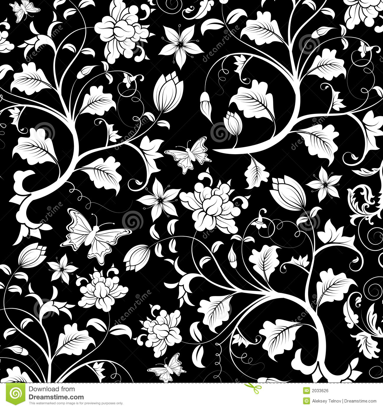 Black Flower And Bud Pattern Royalty Free Stock Photos: Abstract Floral Pattern, Vector Stock Vector