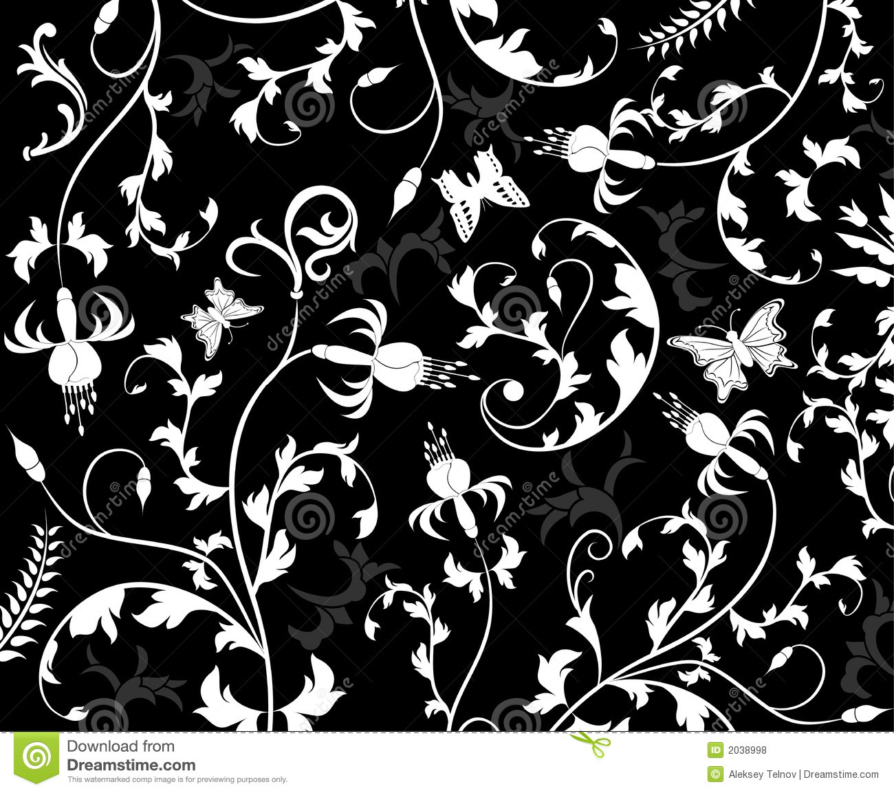 Black Flower And Bud Pattern Royalty Free Stock Photos: Abstract Floral Pattern, Vector Royalty Free Stock Photos