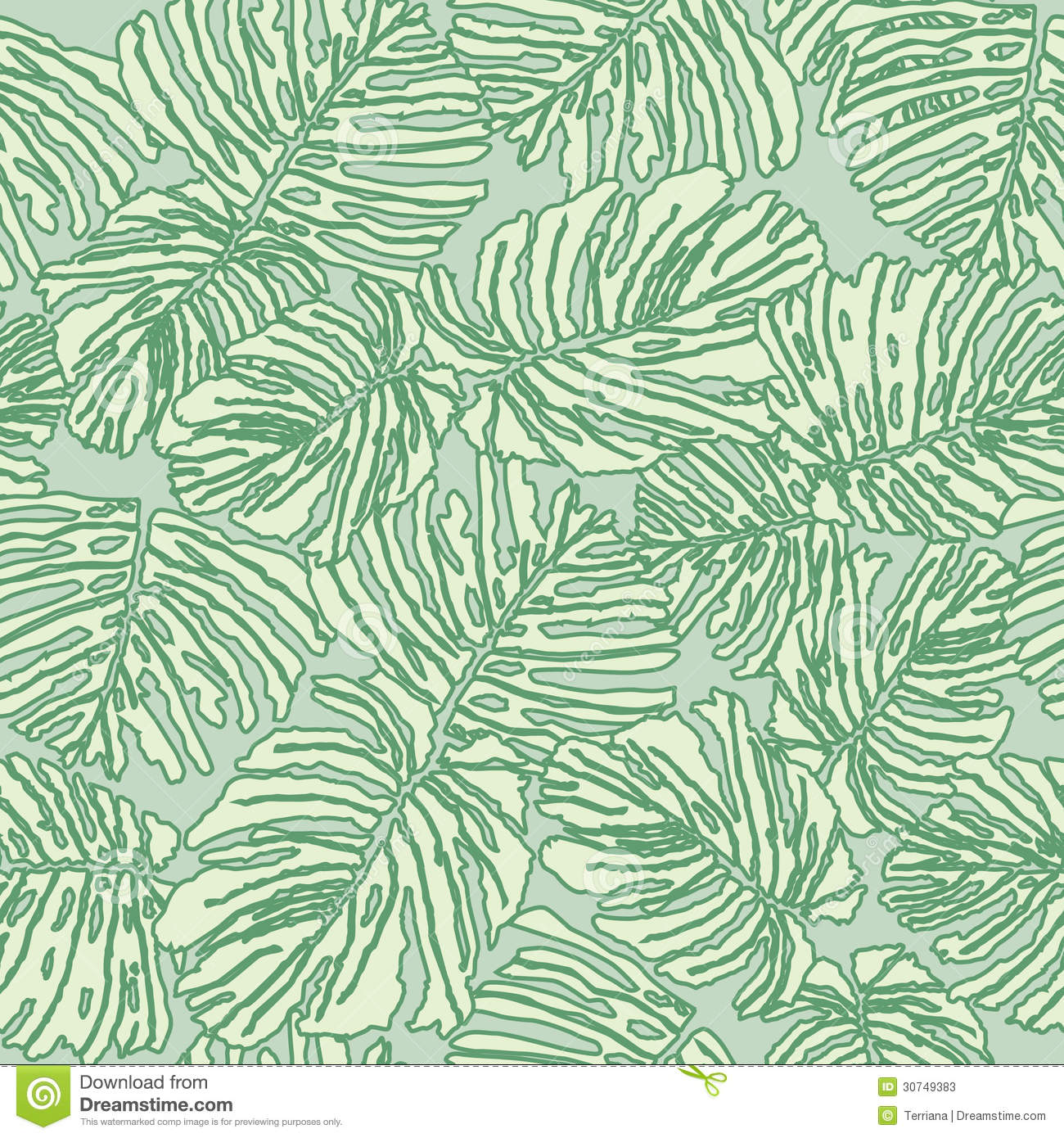 Abstract Floral Seamless Texture With Fern Leaves Stock ...