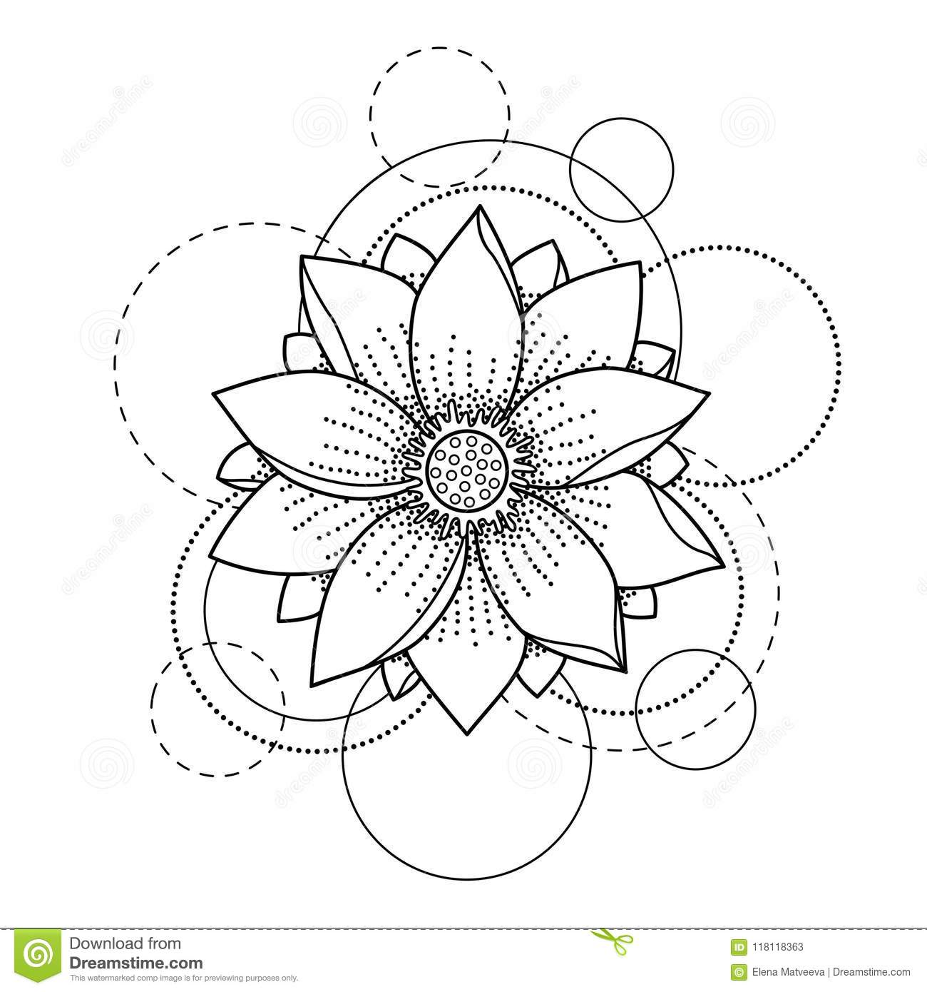 9f8809cb4 Abstract floral tattoo with lotus and circles on white background. Fashion  pattern for textile prints, coloring pages.