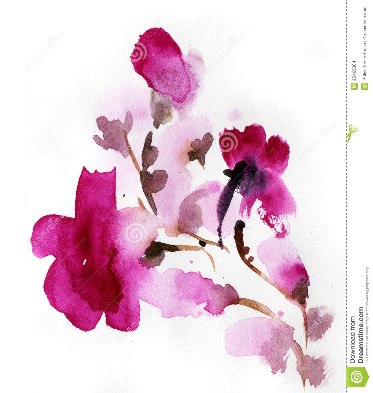 Abstract Floral Watercolor Stock Illustration Of Blank