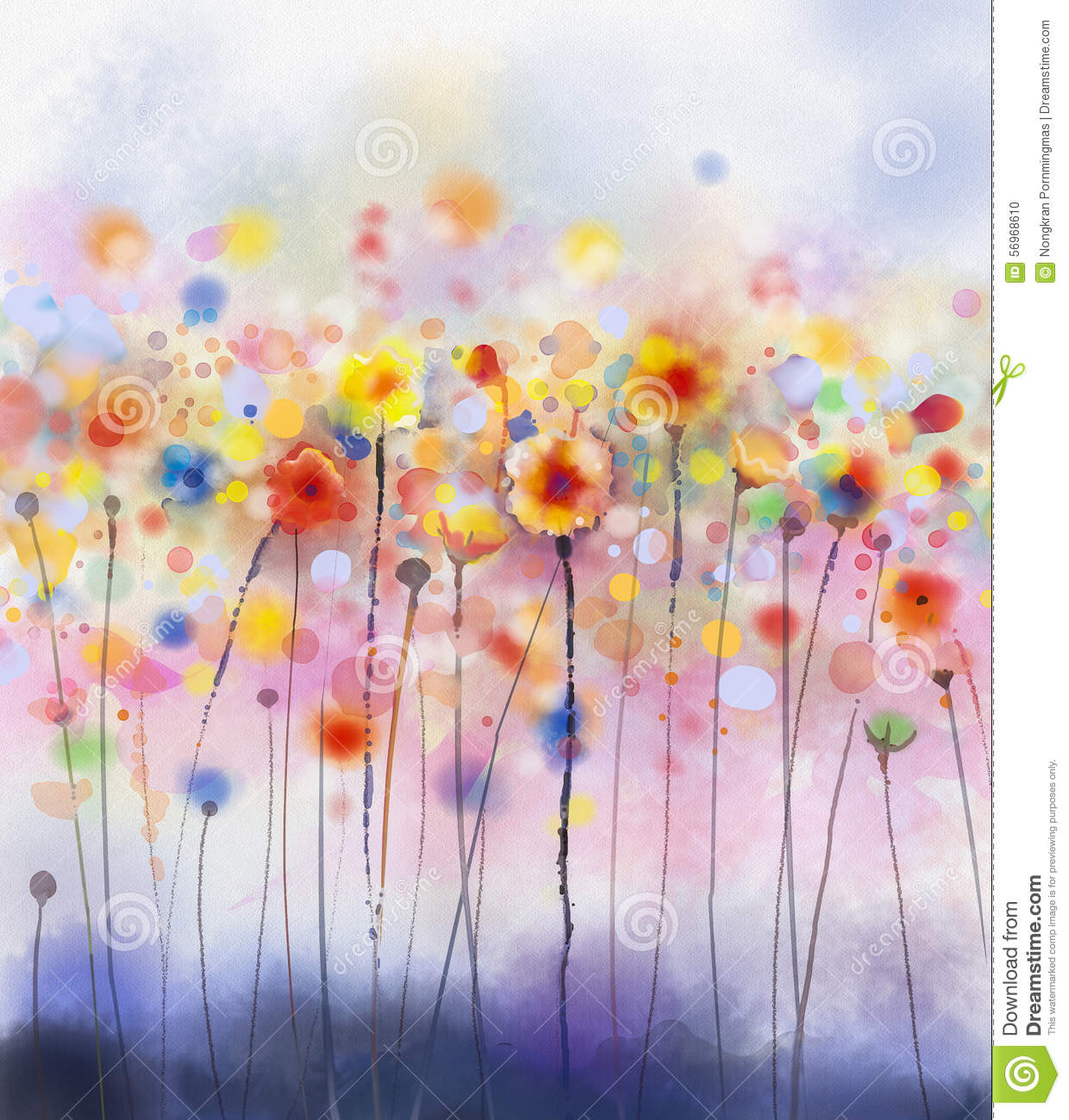 Abstract Floral Watercolor Painting Stock Illustration