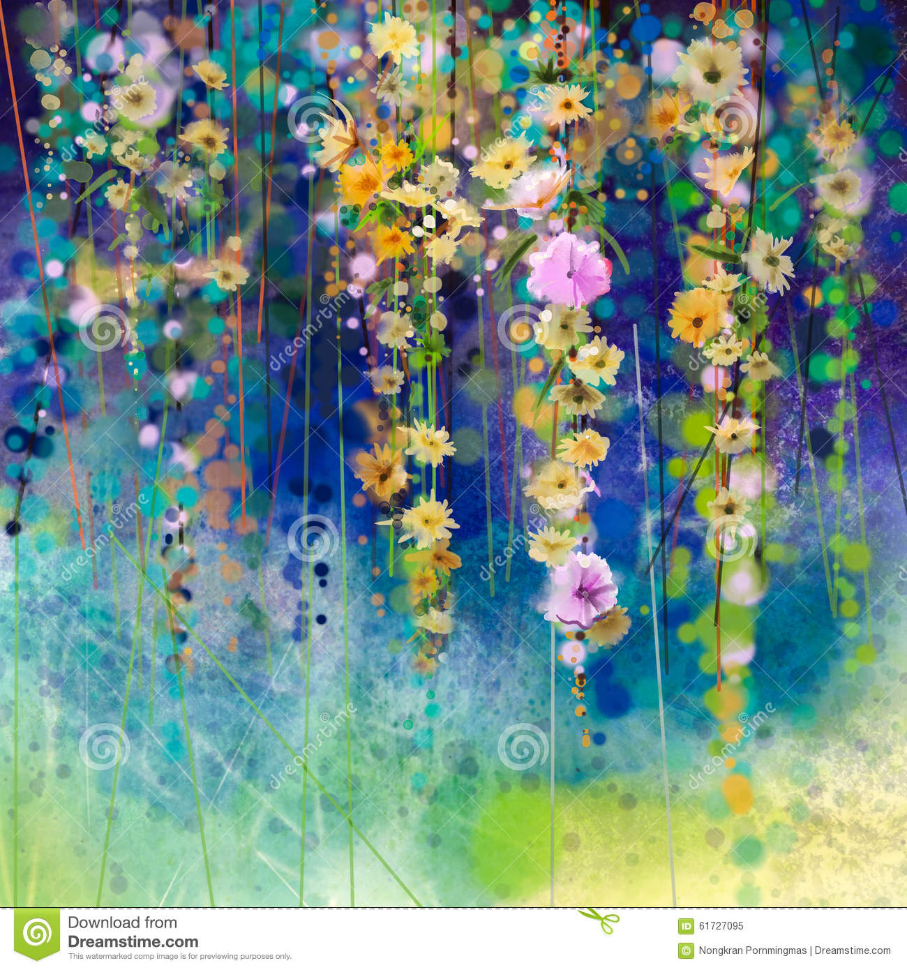 Download Abstract Floral Watercolor Painting Spring Flower Seasonal Nature Background Stock Illustration