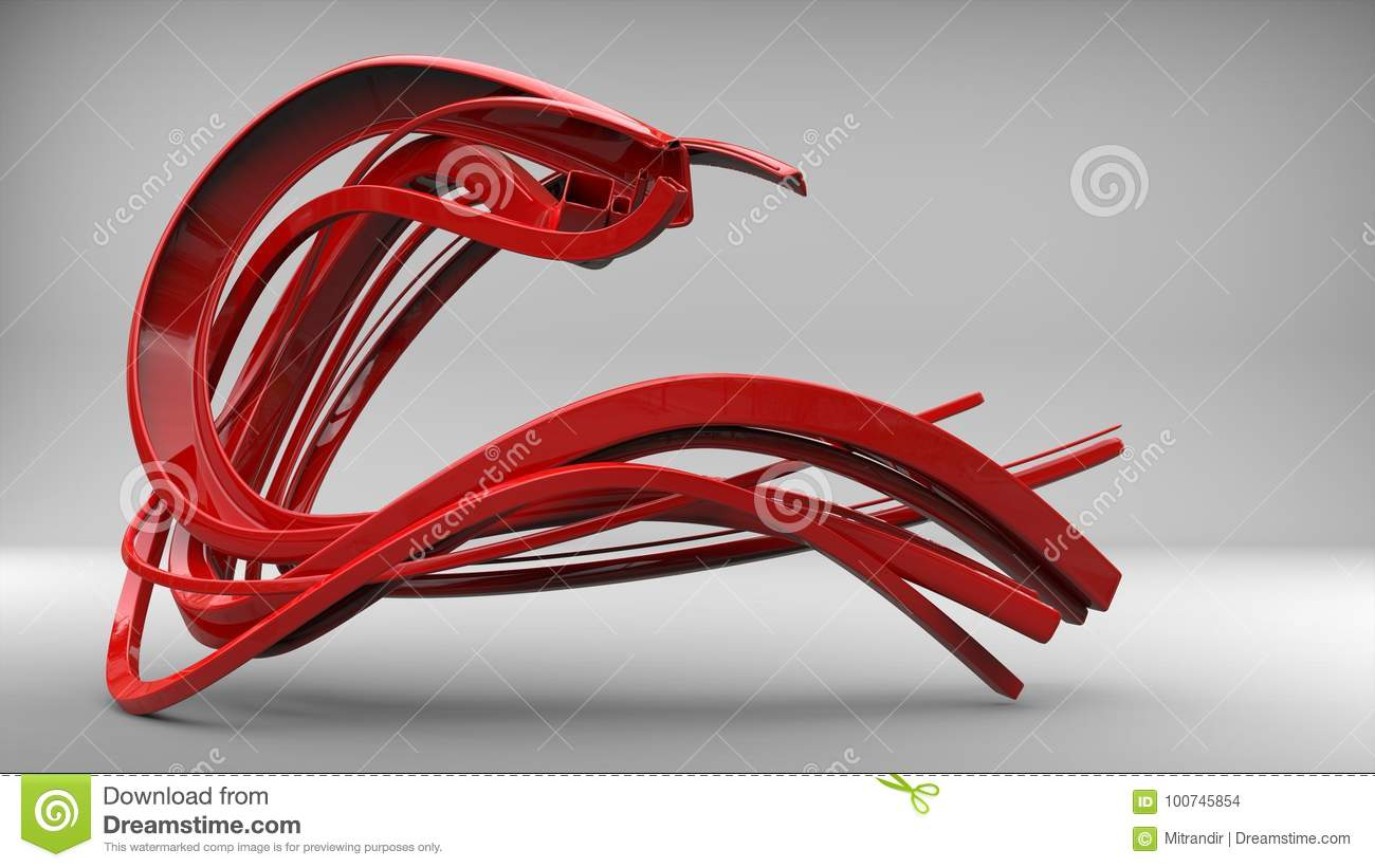 Abstract flow sculpture - shiny red