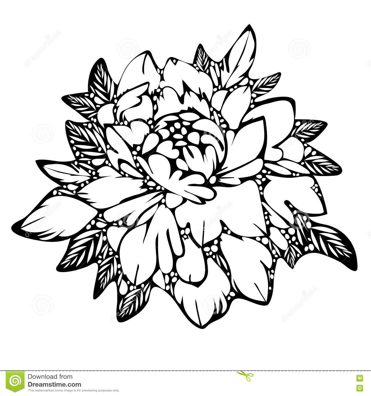 Abstract flower black and white bud leaves monochrome sketch of abstract flower black and white bud leaves monochrome sketch of tattoo print mightylinksfo
